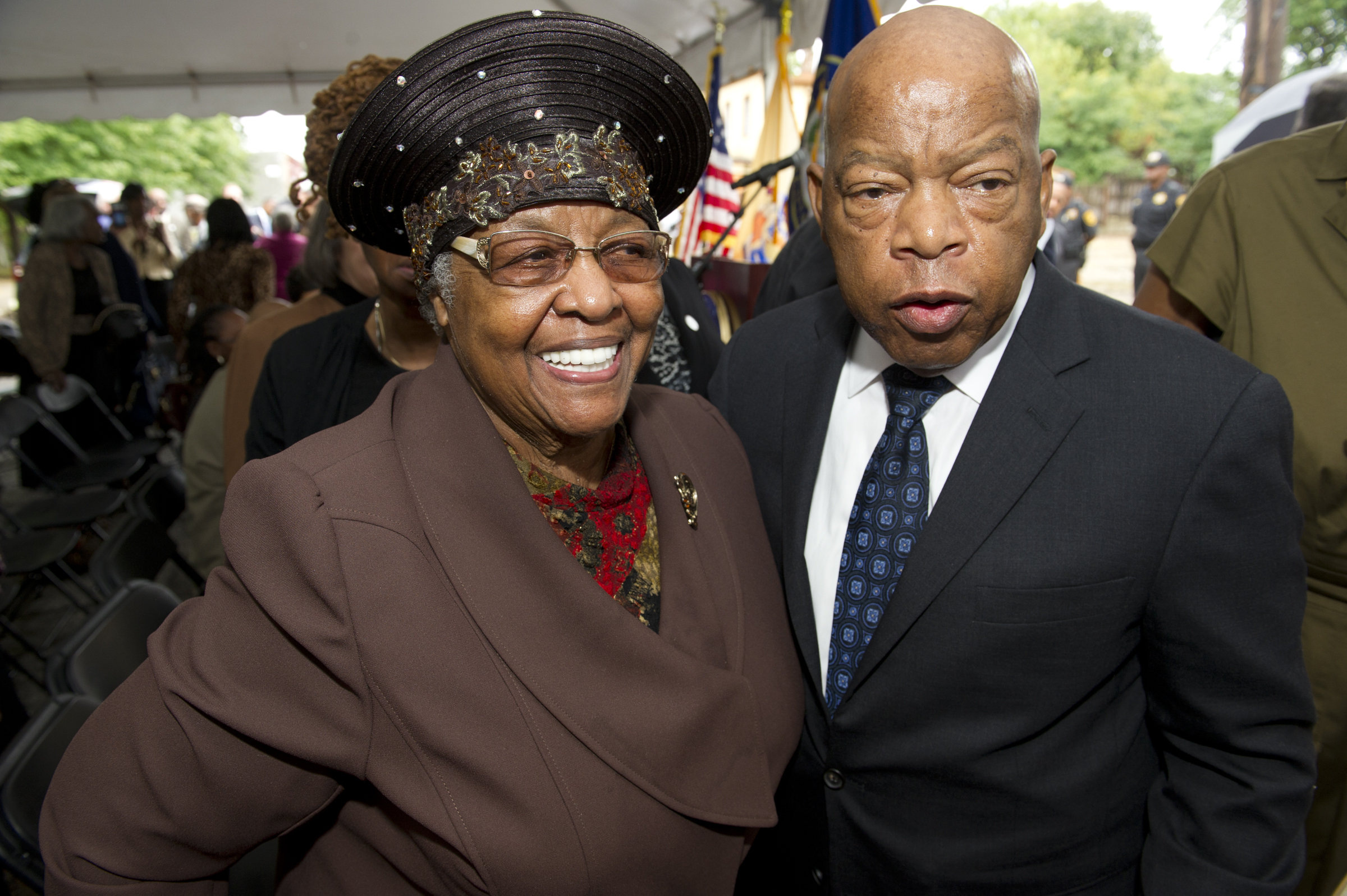 Civil right icon and U. S. Rep. John Lewis meets with Jeanette Lily Hunt during his visit to Walnut Street in Camden at the house where Rev. Dr. Martin Luther King Jr. lived while a student. Avi Steinhardt/ For the Philadelphia Inquirer