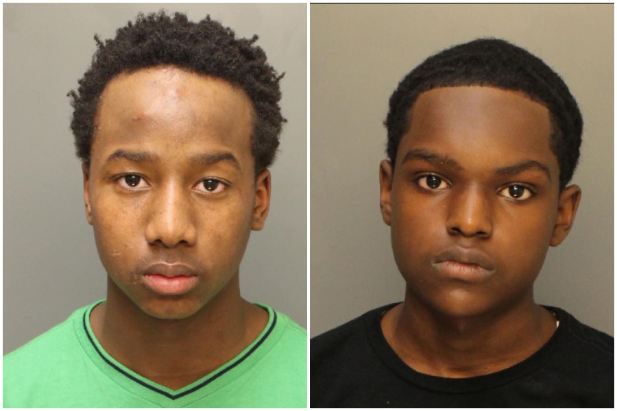 Byron Vinson, 15, left, is charged with murder in the shooting death of Penn State track prospect Kristian Marche, 18, last week. Taron Small, 16, is being sought.