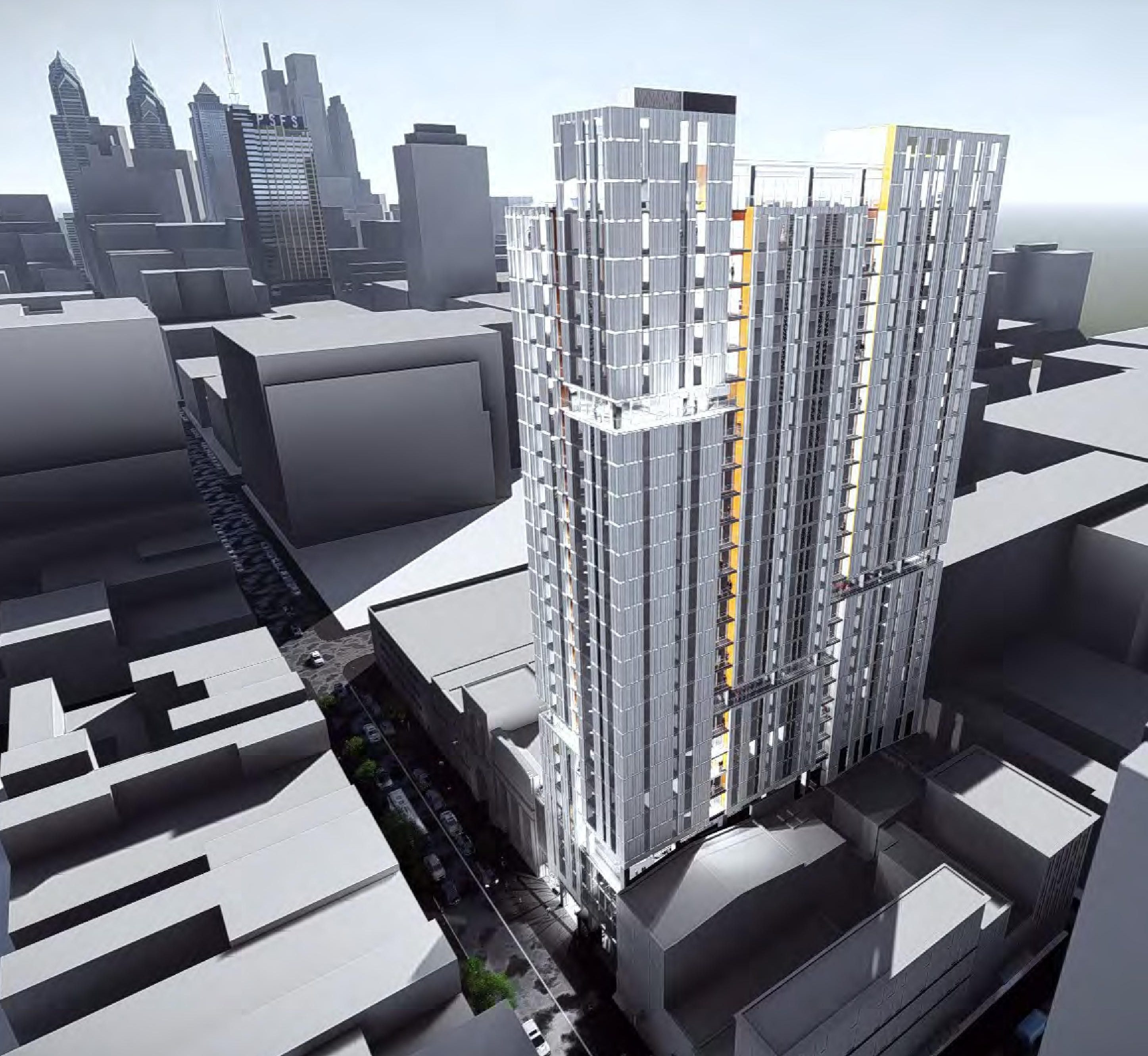 Artist´s rendering of planned 709 Chestnut St. office building, seen in aerial view from southeast.