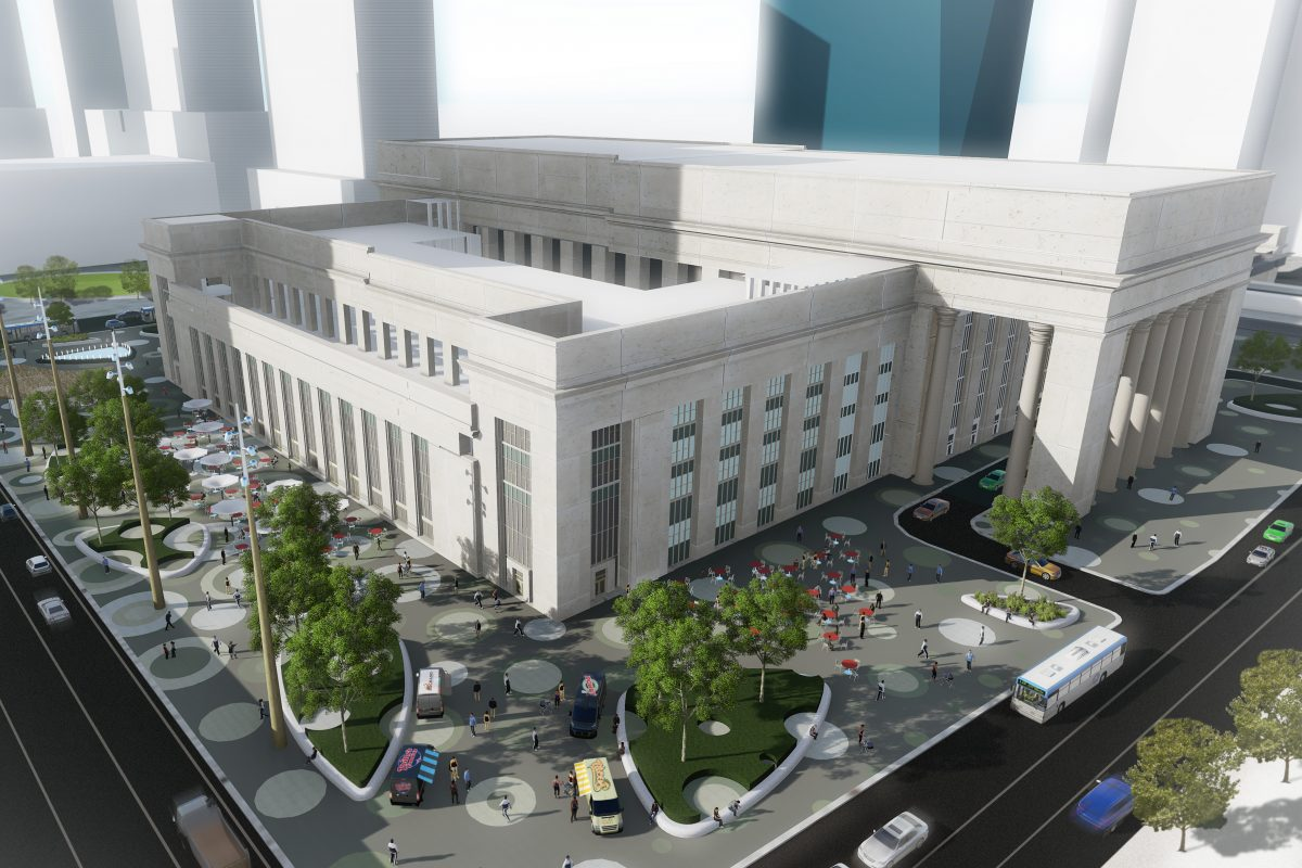 Artist's rendering of the proposed 30th Street Station Plaza, as seen from above the corner of 29th and Market Streets looking northwest.