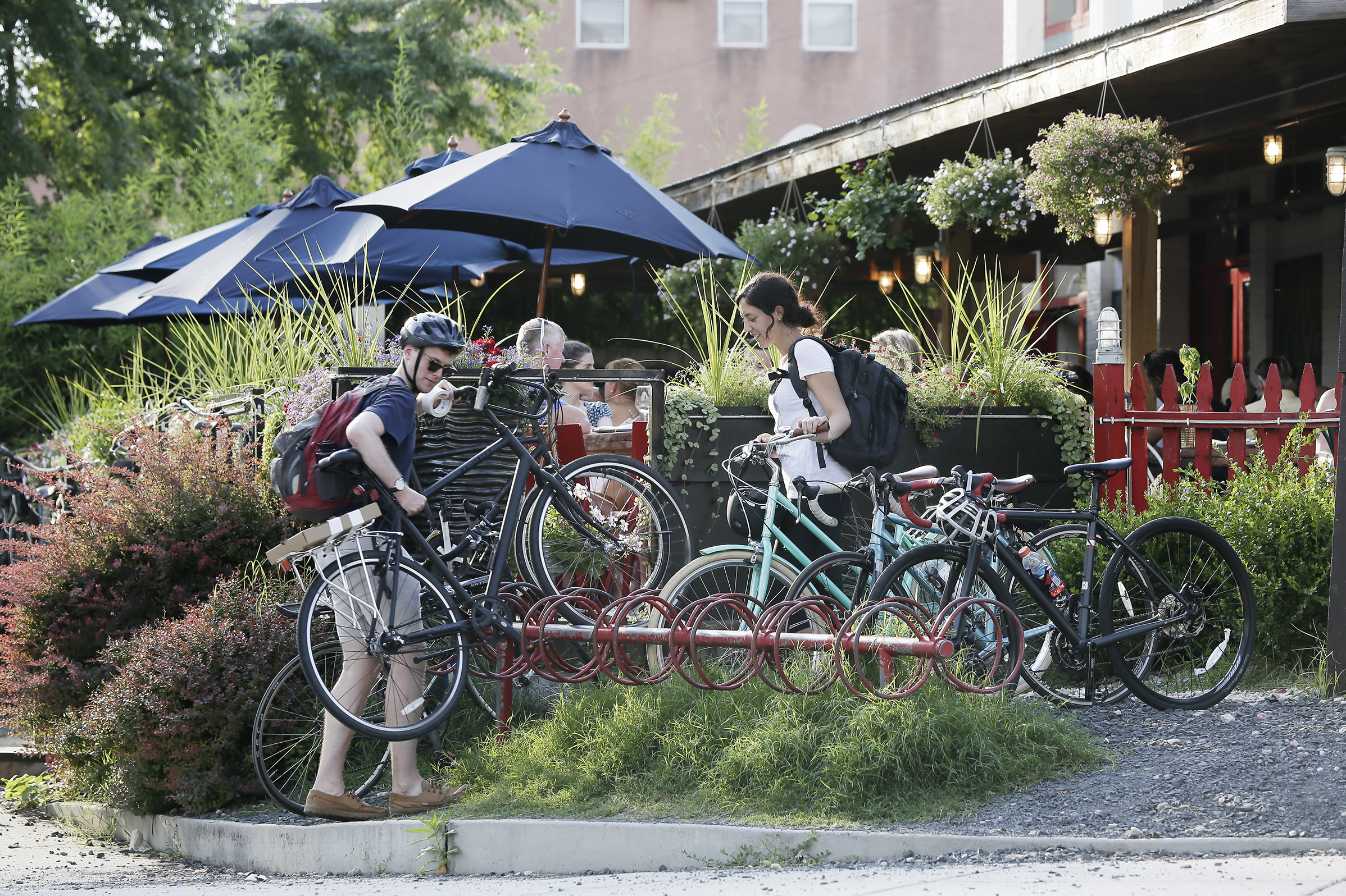 Located just off the Schuylkill River Trail, In Riva frequently hosts packed bike racks just outside its front doors.
