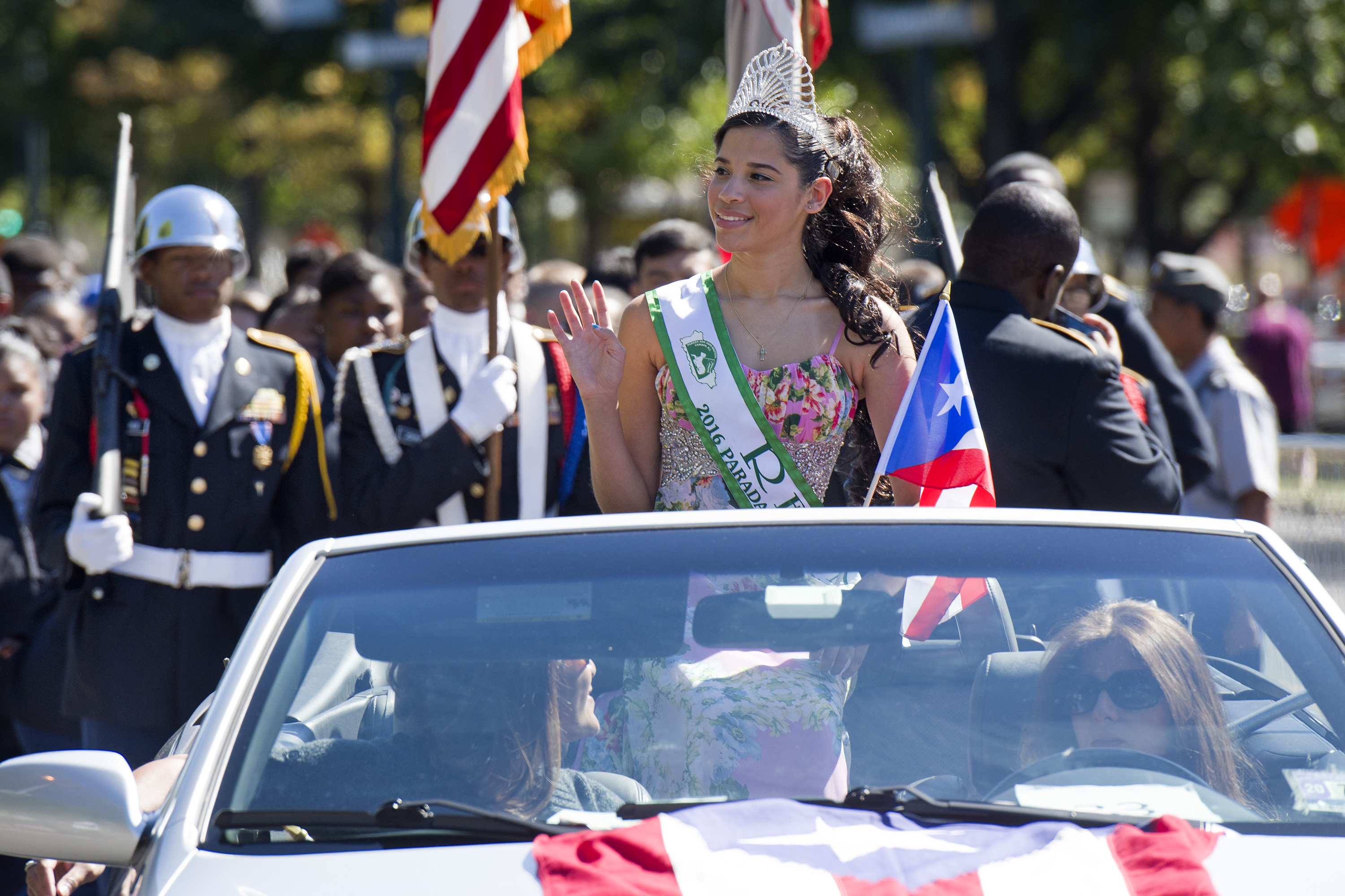 Jessica Lugo, 14, of Cherry Hill, N.J., was among the pageant royalty in the 2016 Puerto Rican Day Parade on the Ben Franklin Parkway.