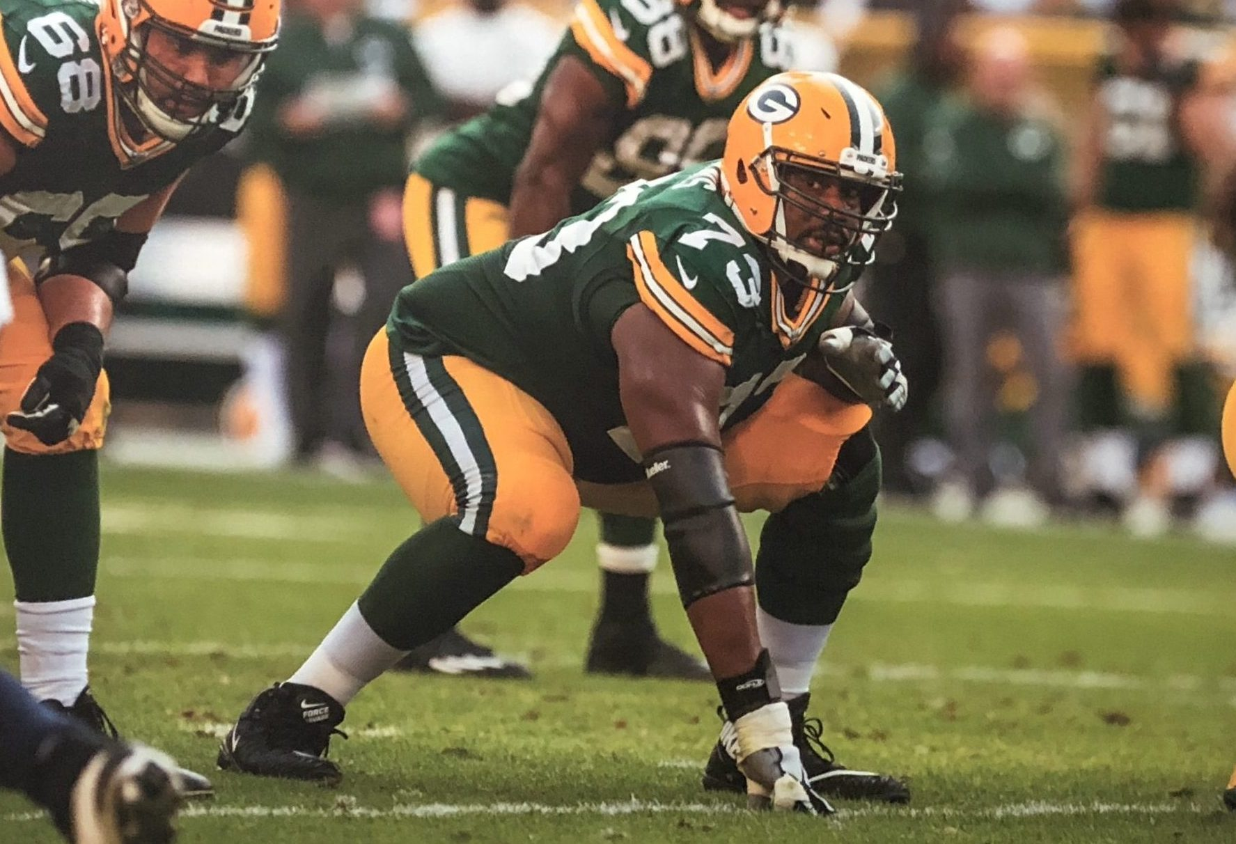 Jahri Evans playing on the Packers offensive line.