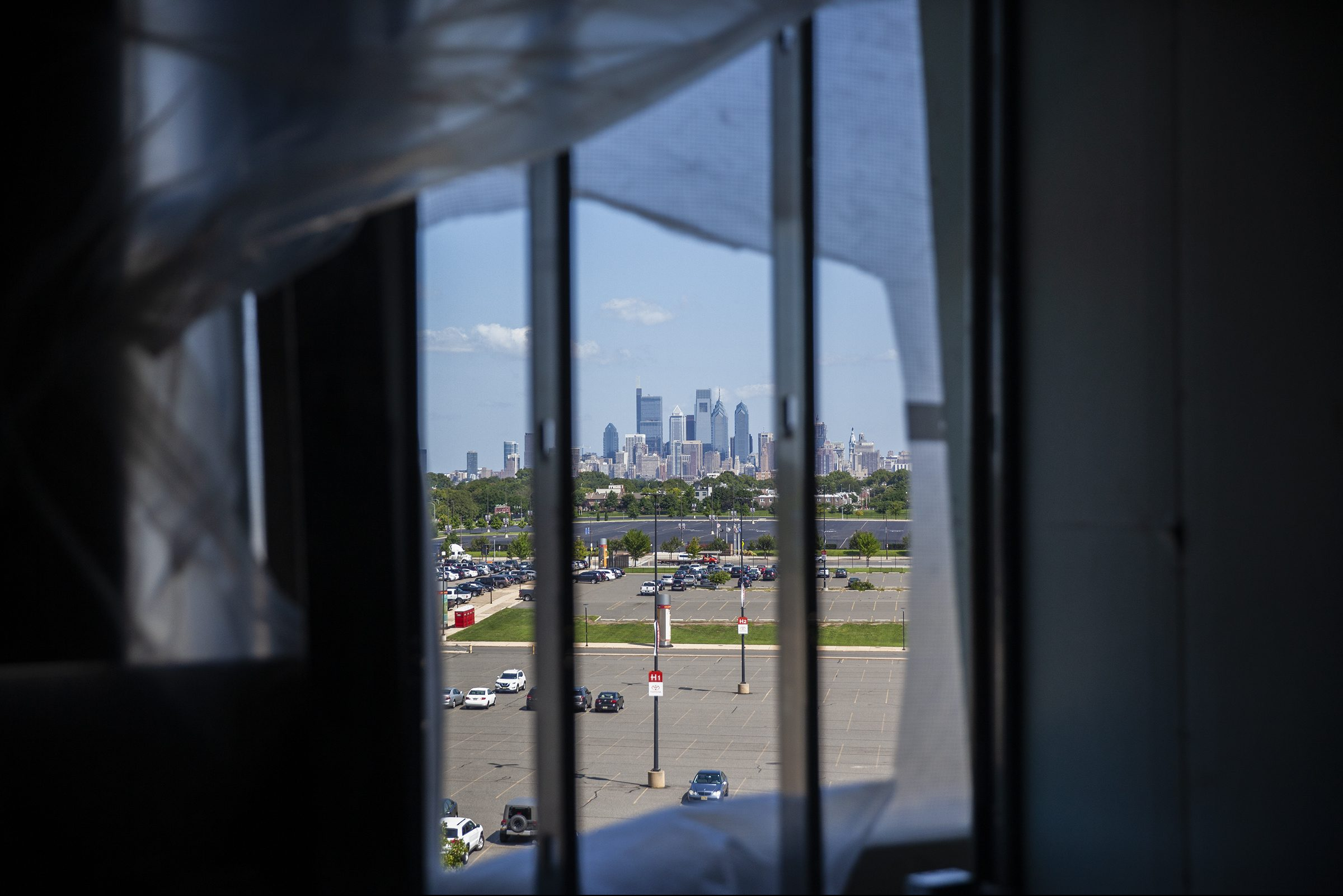 A view of the Philadelphia skyline is seen from inside the Wells Fargo Center on Thursday, Aug. 23, 2018. Renovations inside the arena will include glass windows for views of the skyline.