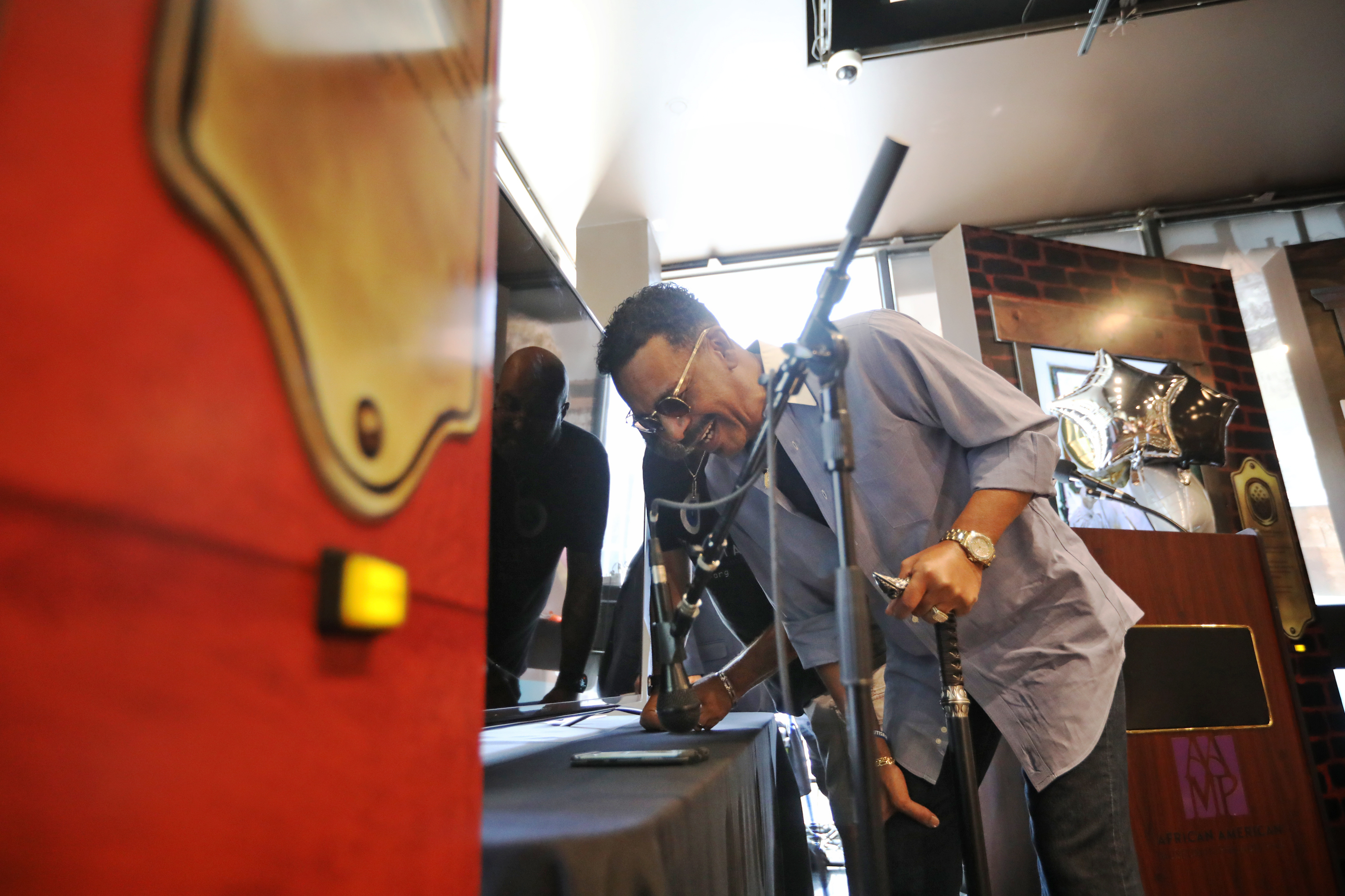 Celebrated entertainer Stevie Wonder phones in an exchange and speaks to Ira Tucker Jr. for a celebration of the 90th anniversary of the Dixie Hummingbirds at the African American Museum, Philadelphia, Pa., Monday Aug. 27, 2018. DAVID SWANSON / Staff Photographer .