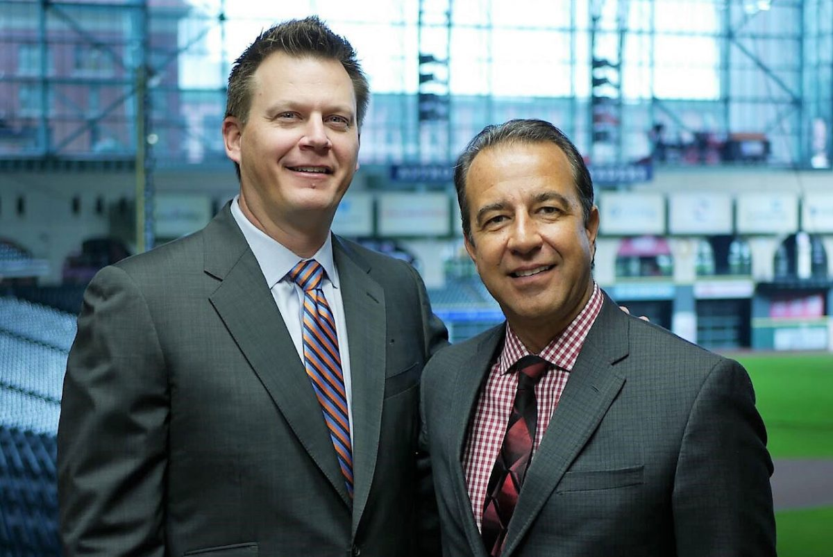 Astros play-by-play announcer Todd Kalas (right) with color analyist Geoff Blum.