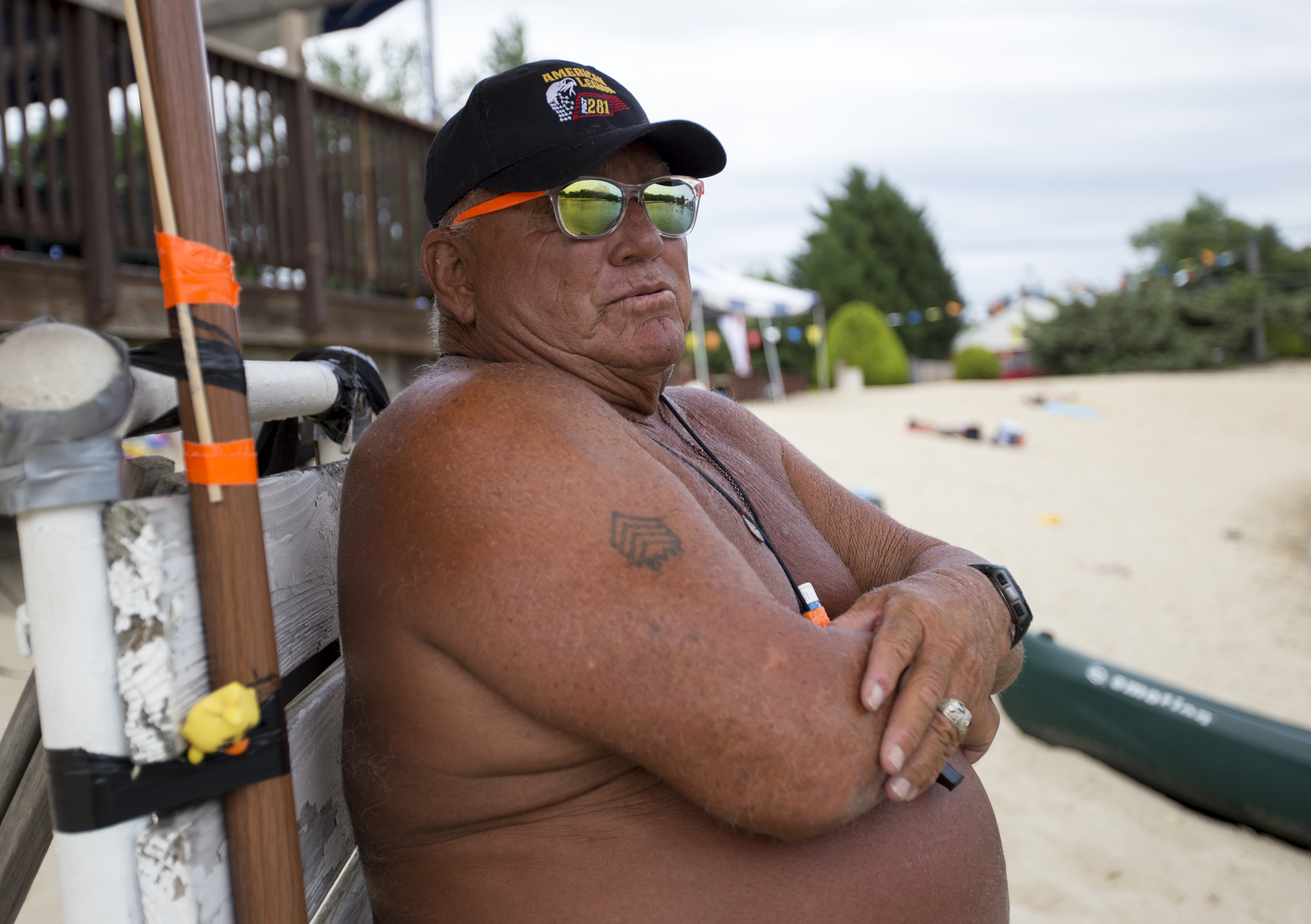Anthony Martino, 70, is a life guard at Bellmawr Lake, July 5, 2017. Bellmawr and Garrison Lakes are two places people pay to swim instead of going to the Jersey Shore( MARGO REED / Staff Photographer )