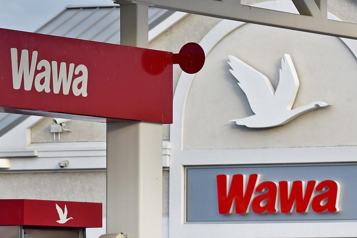 Company logos at a super-sized Wawa convenience-store-and-gas-station combo at 2535 Aramingo Ave.