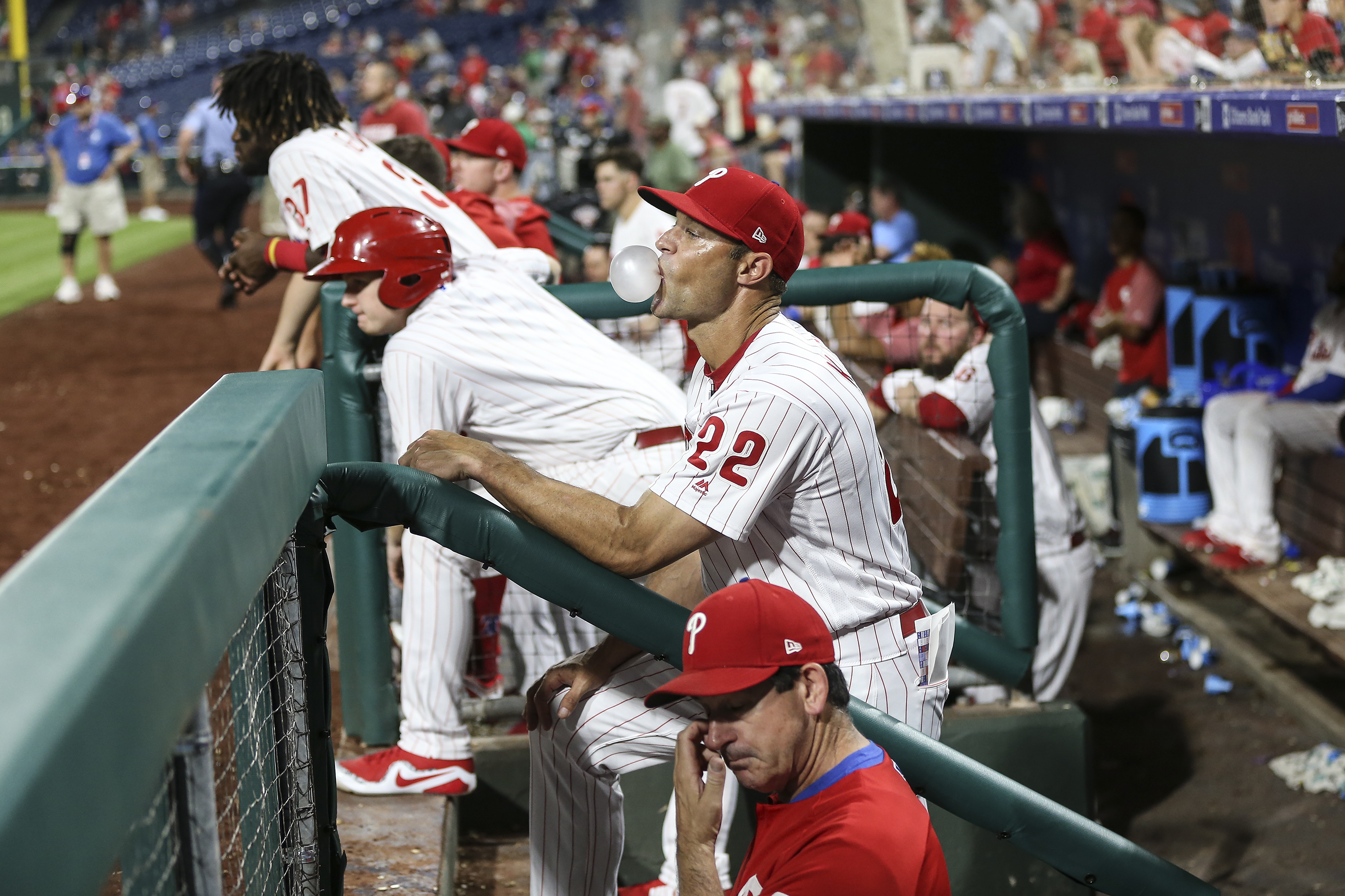 Phillies´ manger Gabe Kapler blows a bubble while waiting for the video review against the Nationals to counter the Vince Velasquez leaving second base to early for the last out of the game at Citizens Bank Park in Philadelphia, Tuesday, August 28, 2018. Nationals beat the Phillies 5-4.