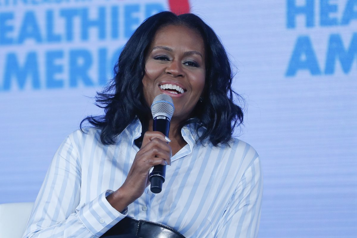 Former first lady Michelle Obama speaking at the Partnership for a Healthier American 2017 Healthier Future Summit in Washington, Friday, May 12, 2017.  (AP Photo/Pablo Martinez Monsivais)