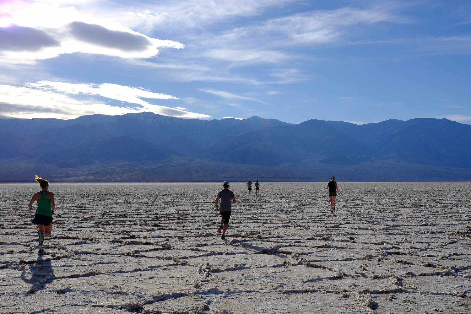 Highline travelers start the morning off with a five-mile run through Death Valley.