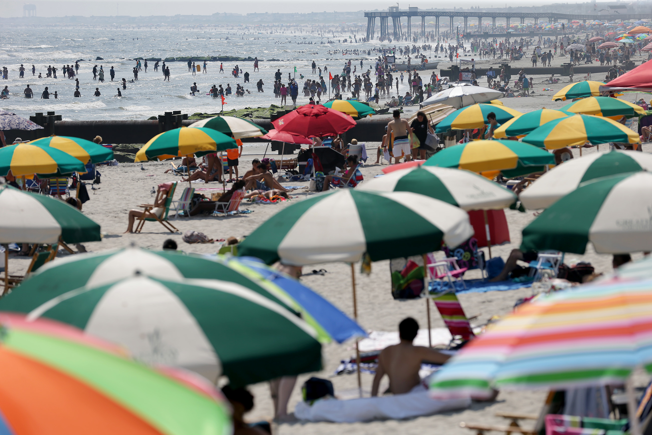 The beach at 9th Street was crowded as summer winds down in Ocean City, NJ.