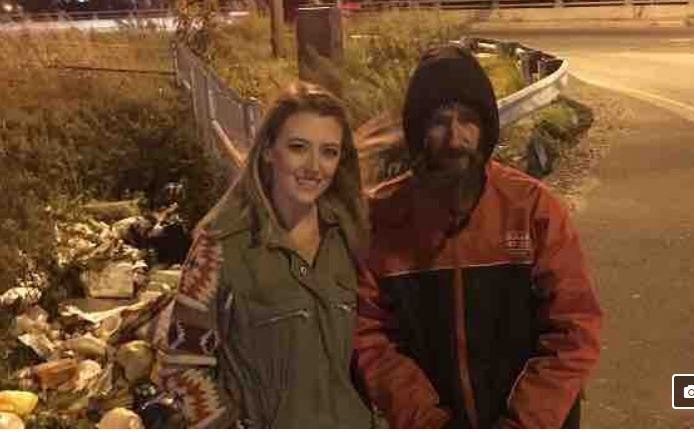 This is the photo Kate McClure posted on the GoFundMe page showing her with Johnny Bobbitt.