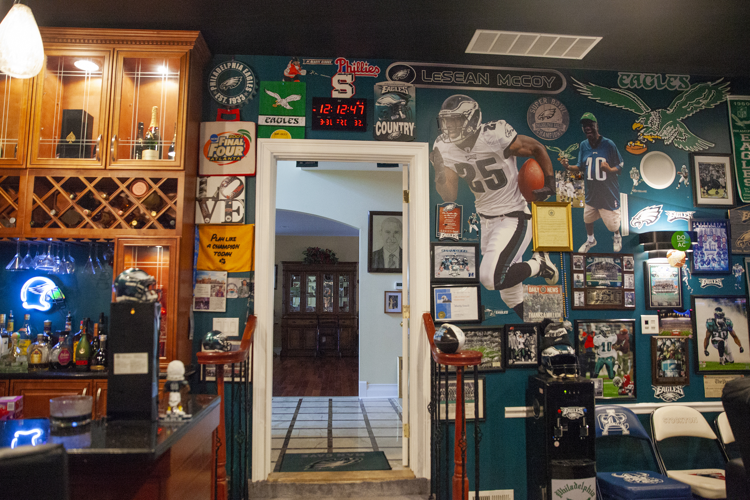 A look inside Marty Small�s fan cave or theatre room in his Atlantic City home on Friday, Aug. 31, 2018. Small bought new memorabilia, including a Super Bowl champion banner, following the Eagles win in Feb.