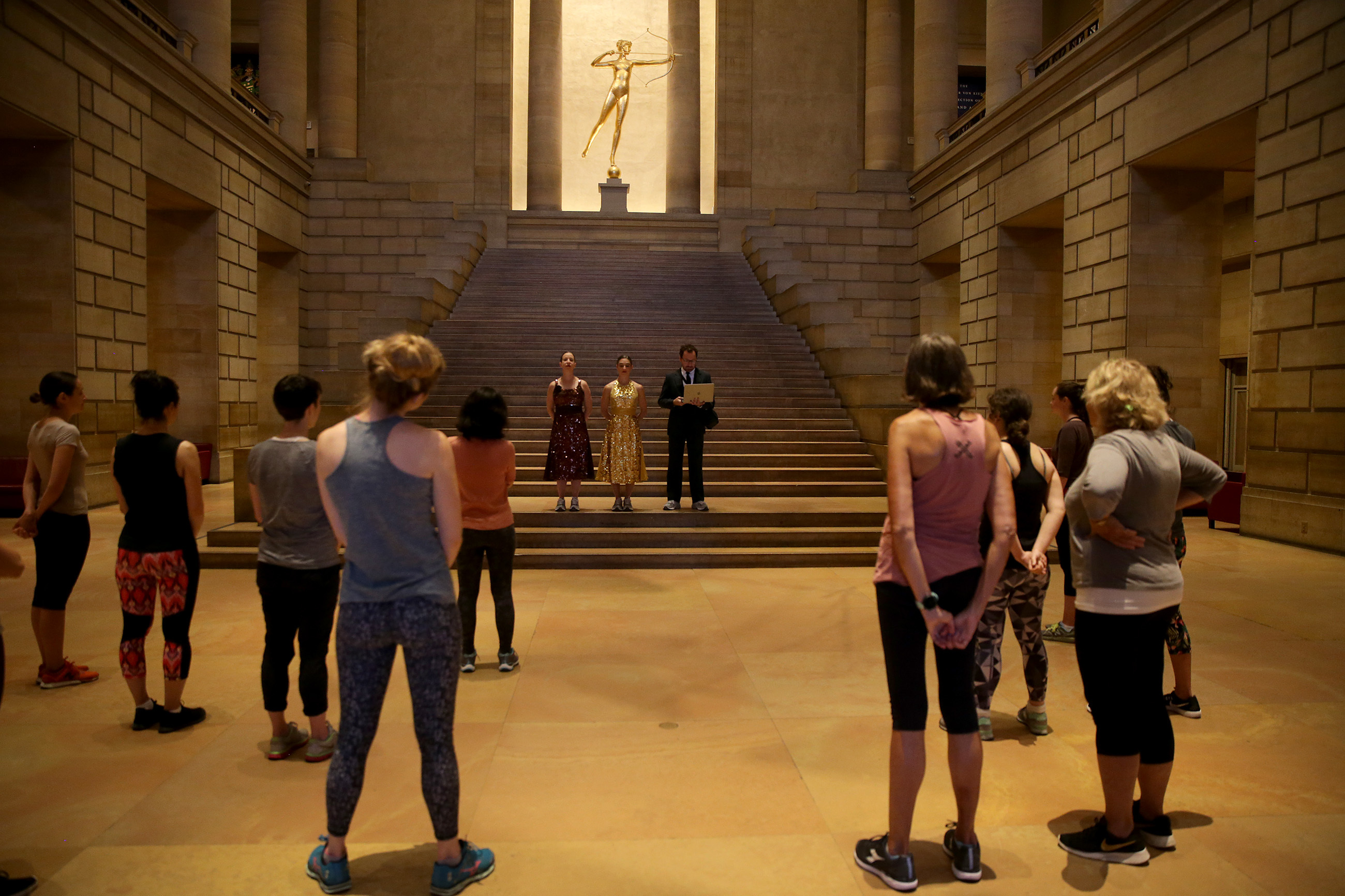 """A great turnout at the Great Stair Hall for the start of the Fringe Frestival """"Museum Workout."""""""