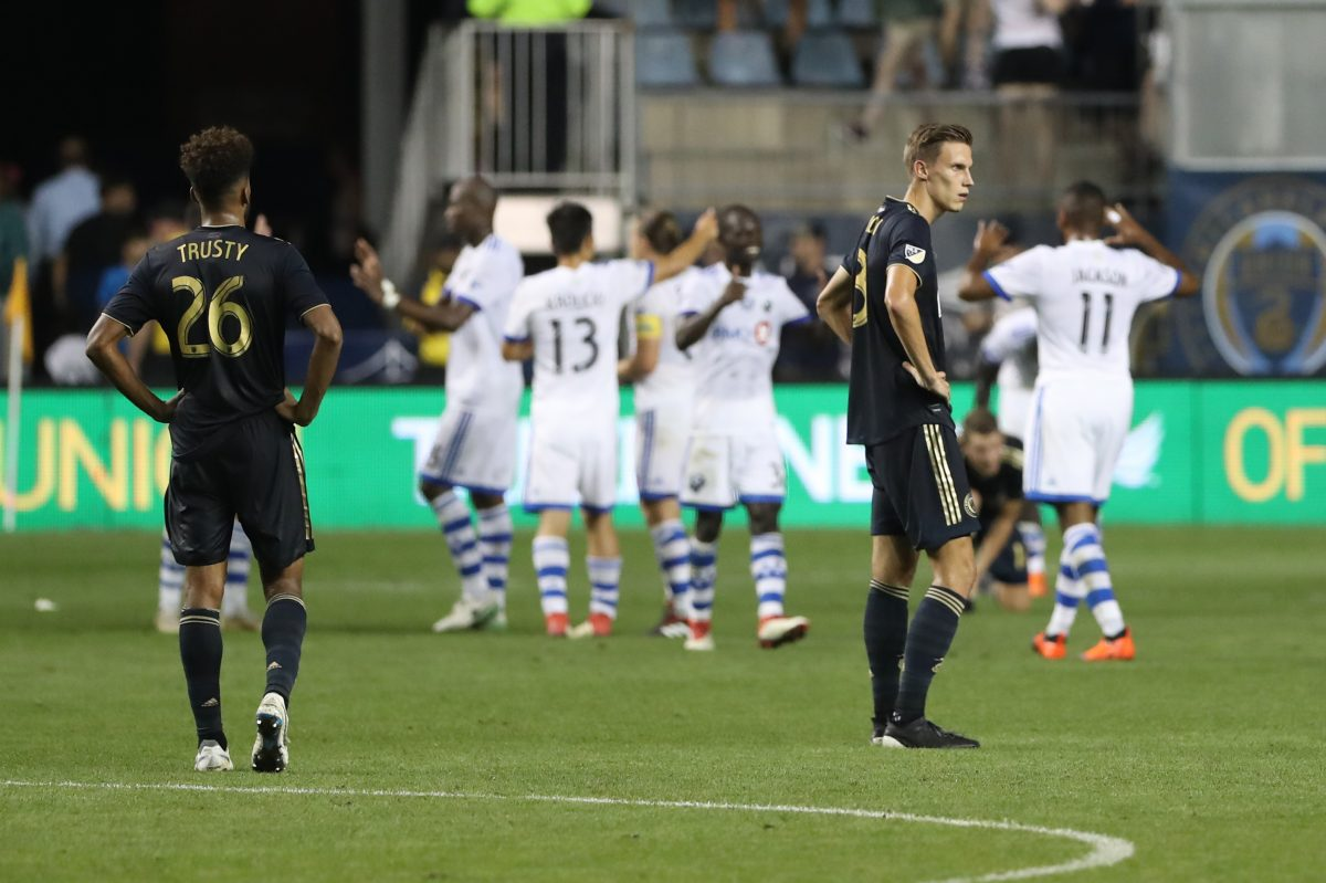 Auston Trusty, (left), Jack Elliott (right) and the rest of the Philadelphia Union were caught flat-footed by the Montreal Impact.