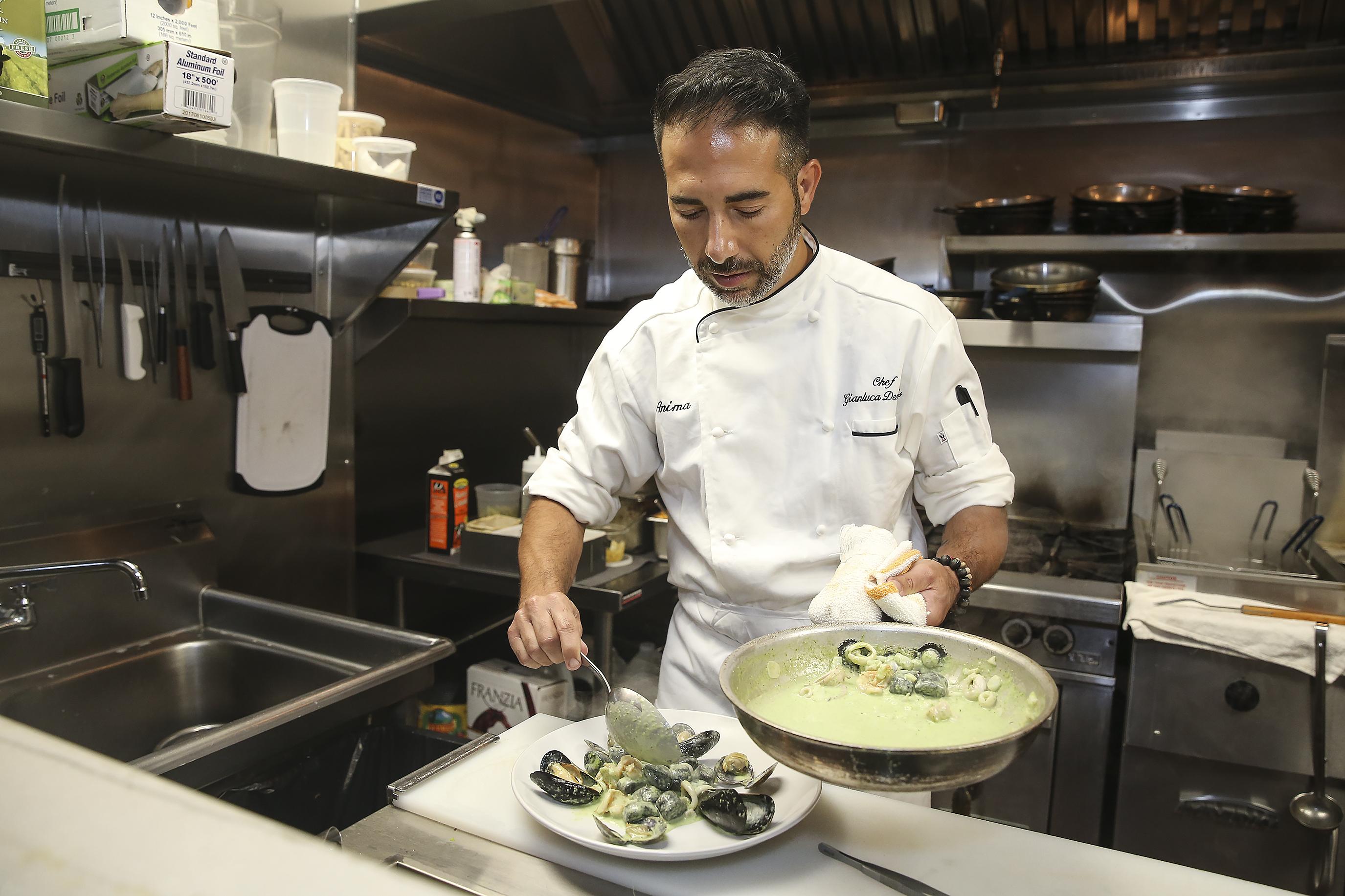 Chef-owner Gianluca Demontis makes the Gnocchetti Al Nero at L�Anima.