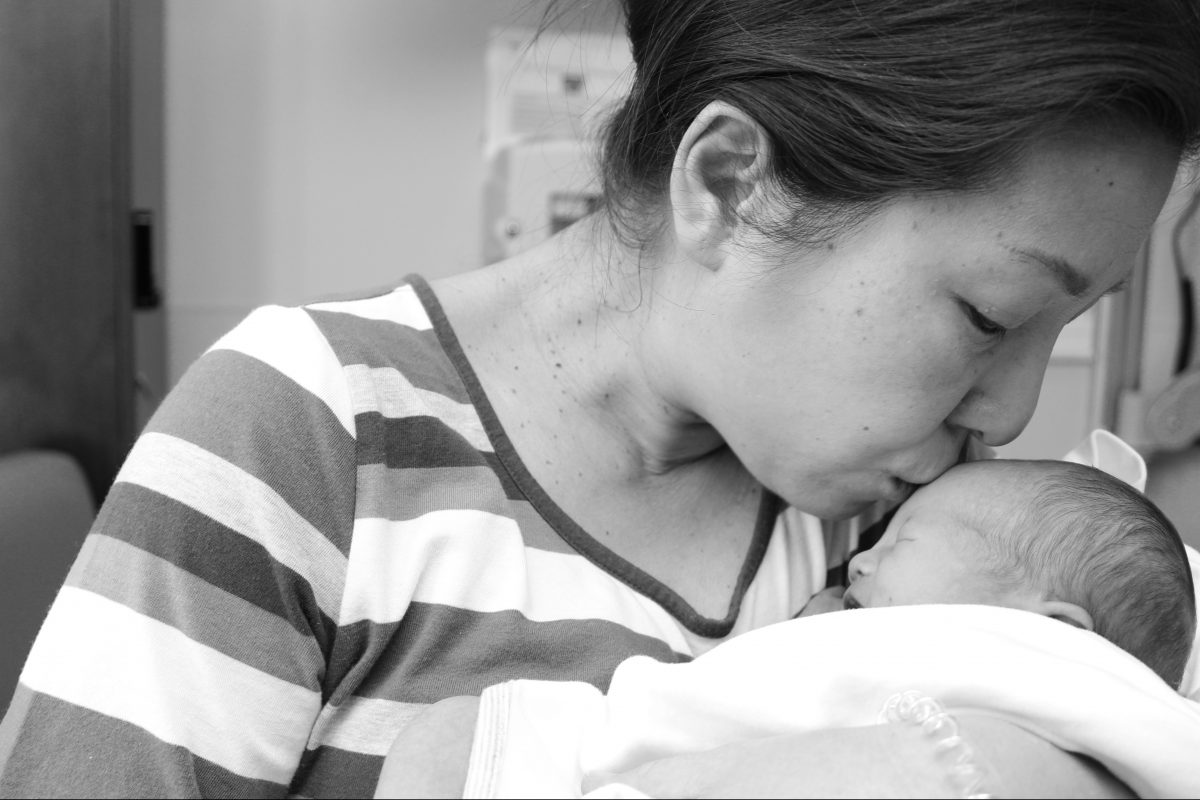 Hyoejin Yoon with her four-day-old son, Han.