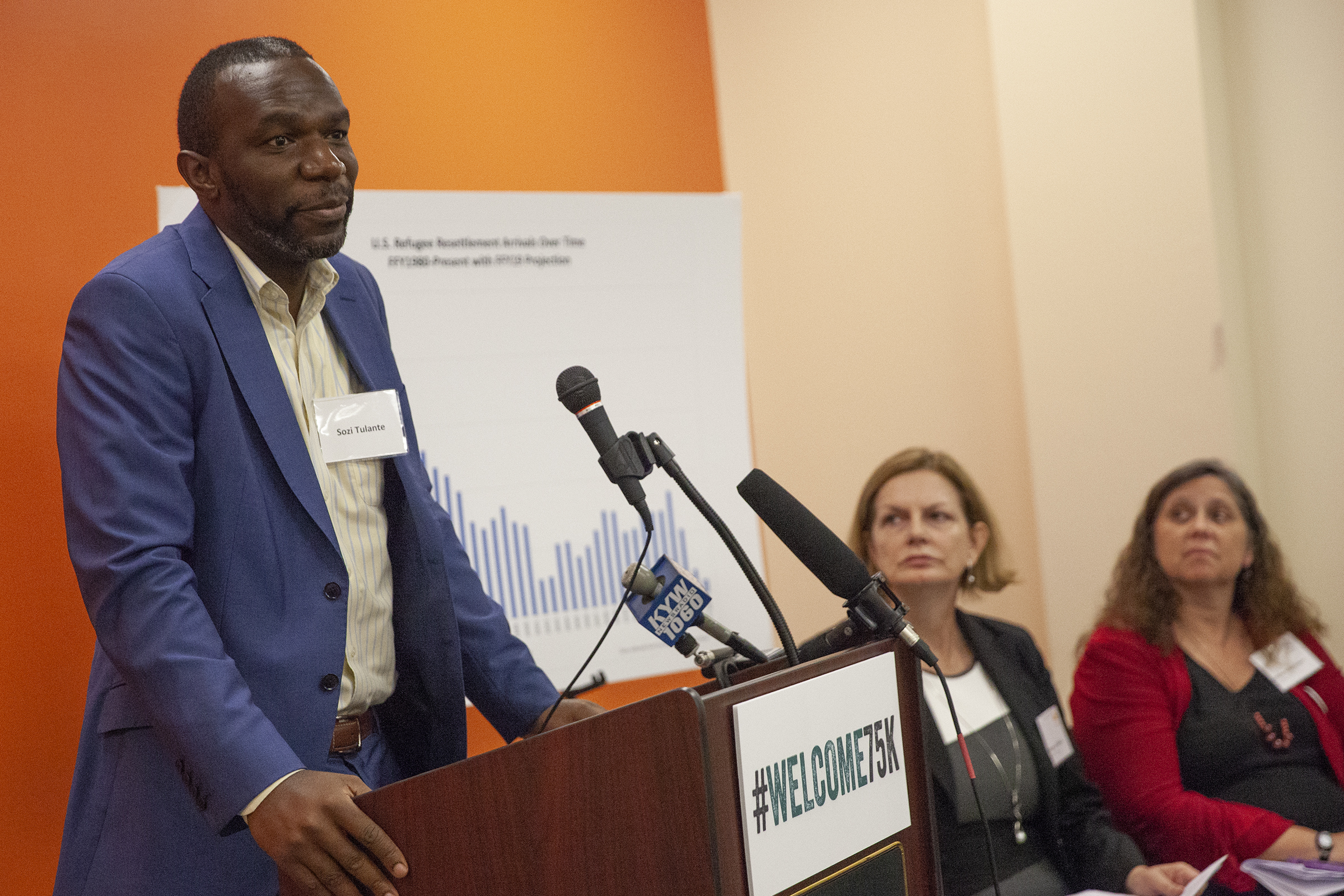 Sozi Pedro Tulante, who teaches at the University of Pennsylvania Law School, was a political refugee from what is now the Democratic Republic of Congo. He speaks during an event held to discuss the lowering of refugee admissions to the U.S.