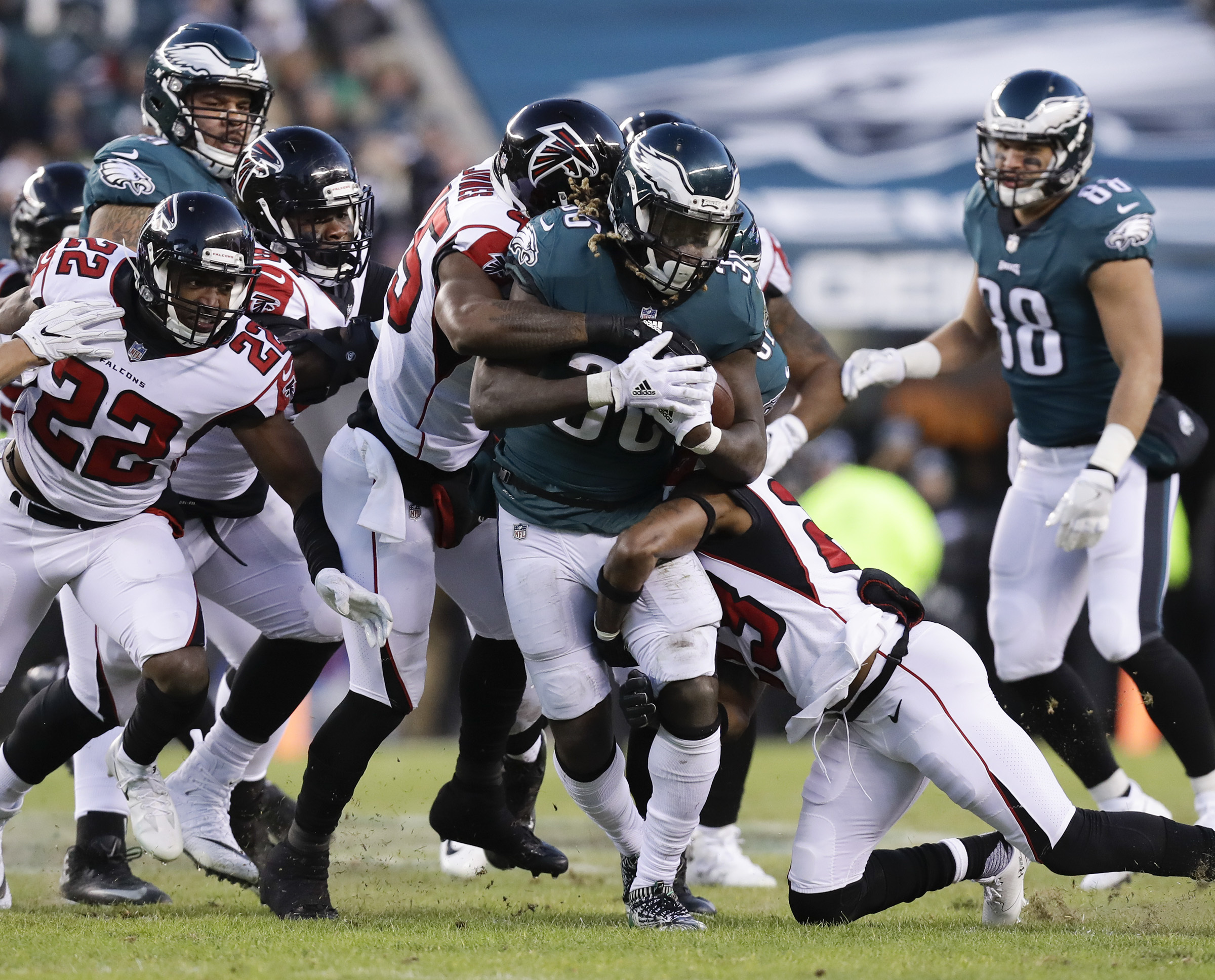 Eagles running back Jay Ajayi runs with the football against the Atlanta Falcons in a NFC Divisional Playoff game on Saturday, January 13, 2018 in Philadelphia.
