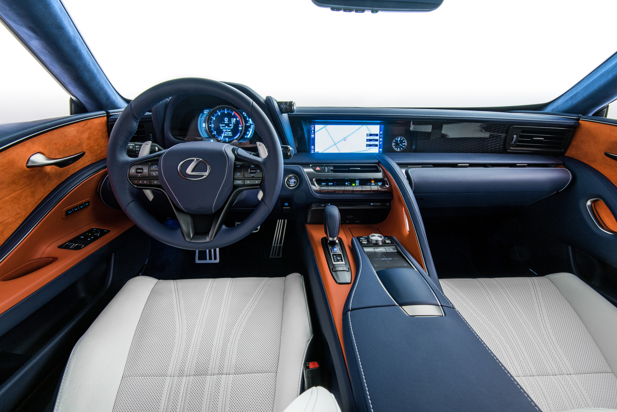 The interior of the Lexus LC500 Coupe is equally attractive, but lean your head to the left and feel a bonk. And the rear seat, well, that's just bonkers.