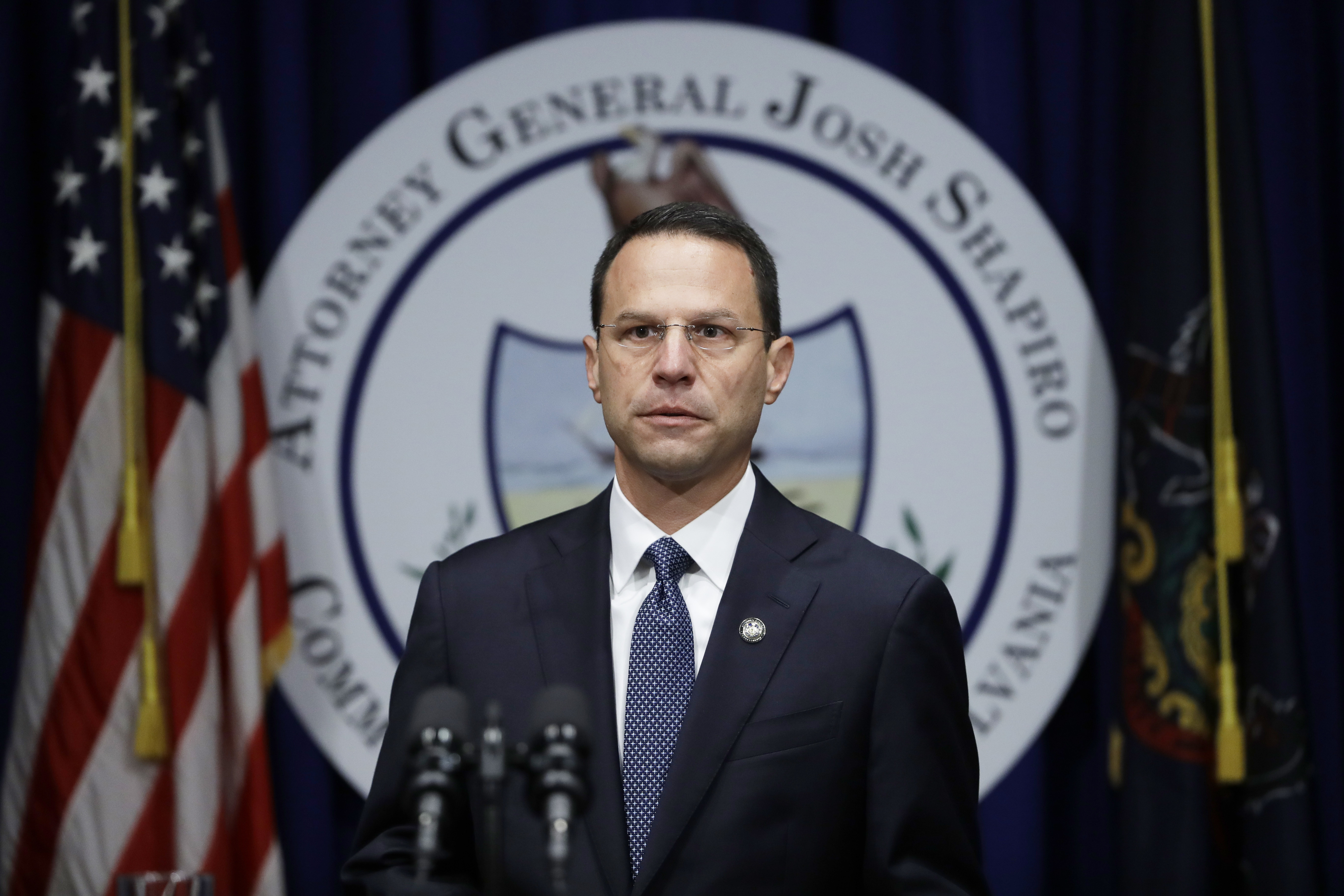 An attorney for some clergy members seeking to block the release of a grand jury report accused Attorney General Josh Shapiro, pictured above, of running a relentless media campaign. They also accused his office of releasing secret grand jury material.