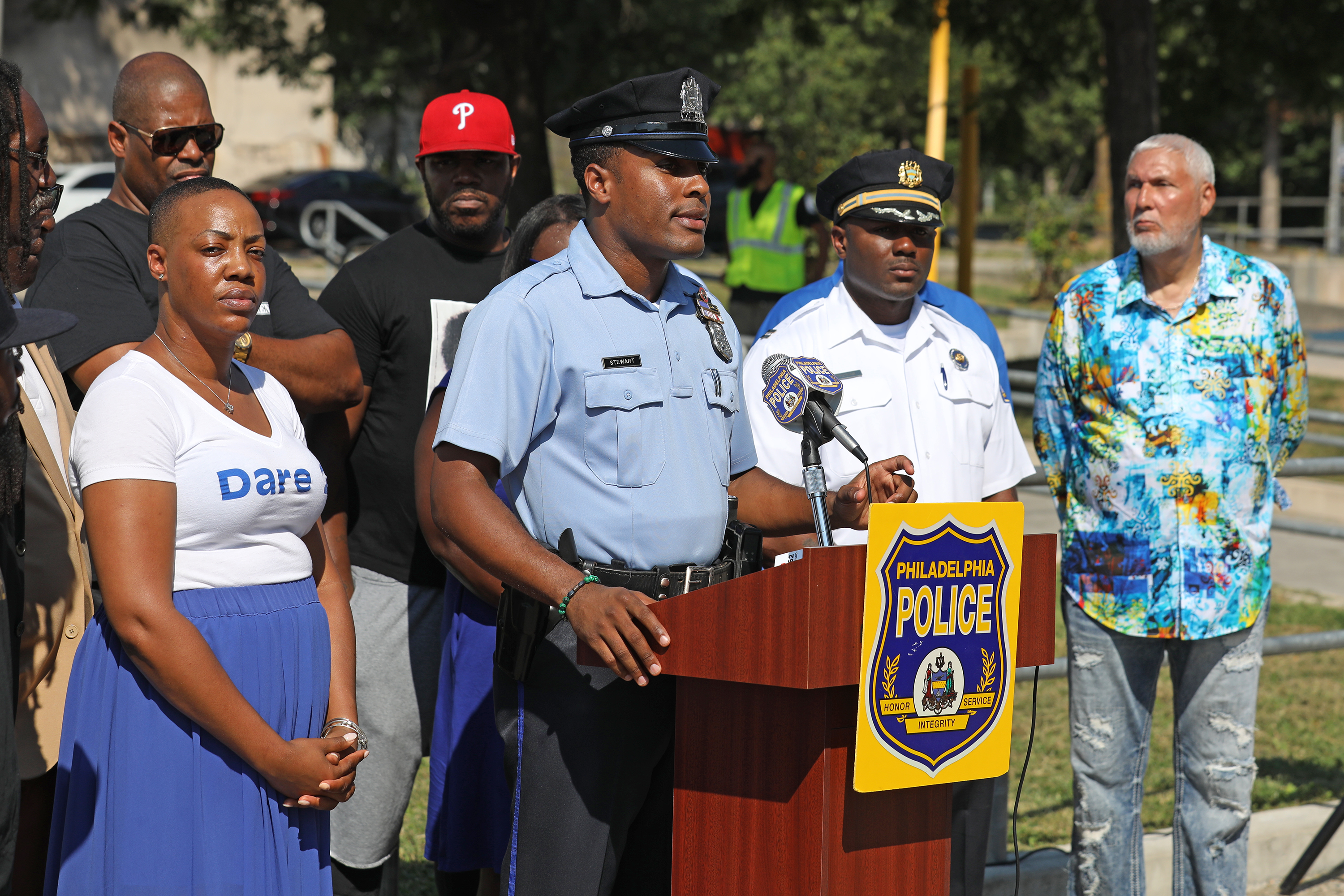 Police officer G. Lamar Stewart speaks at a press conference announcing that the 1st Friday of every month, PPD leads a program in the Southwest Police Division that transforms heavily populated street corners into job interview sites. at 51st and Reno in Philadelphia, Thursday September, 2018.