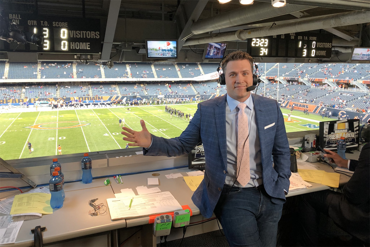 NFL Network host Kyle Brandt lived out a childhood dream by calling a preseason Chiacgo Bears game live from Soldier Field.