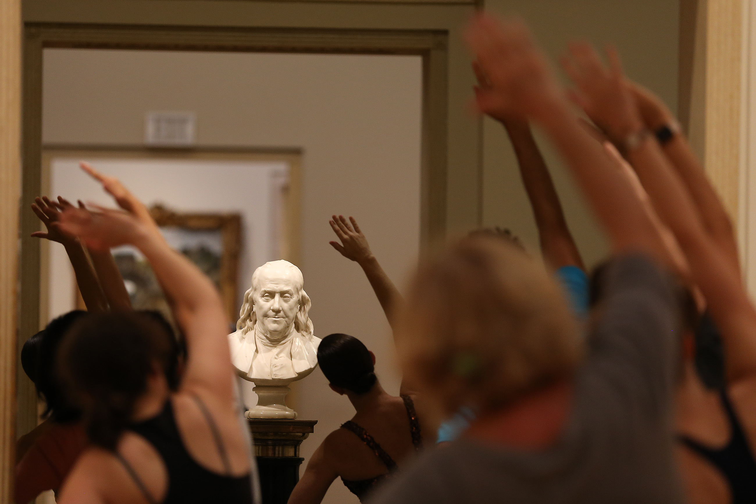 "Participants exercise during the Fringe Arts ""The Museum Workout"" event at the Philadelphia Museum of Art in Philadelphia, PA on September 12, 2018."