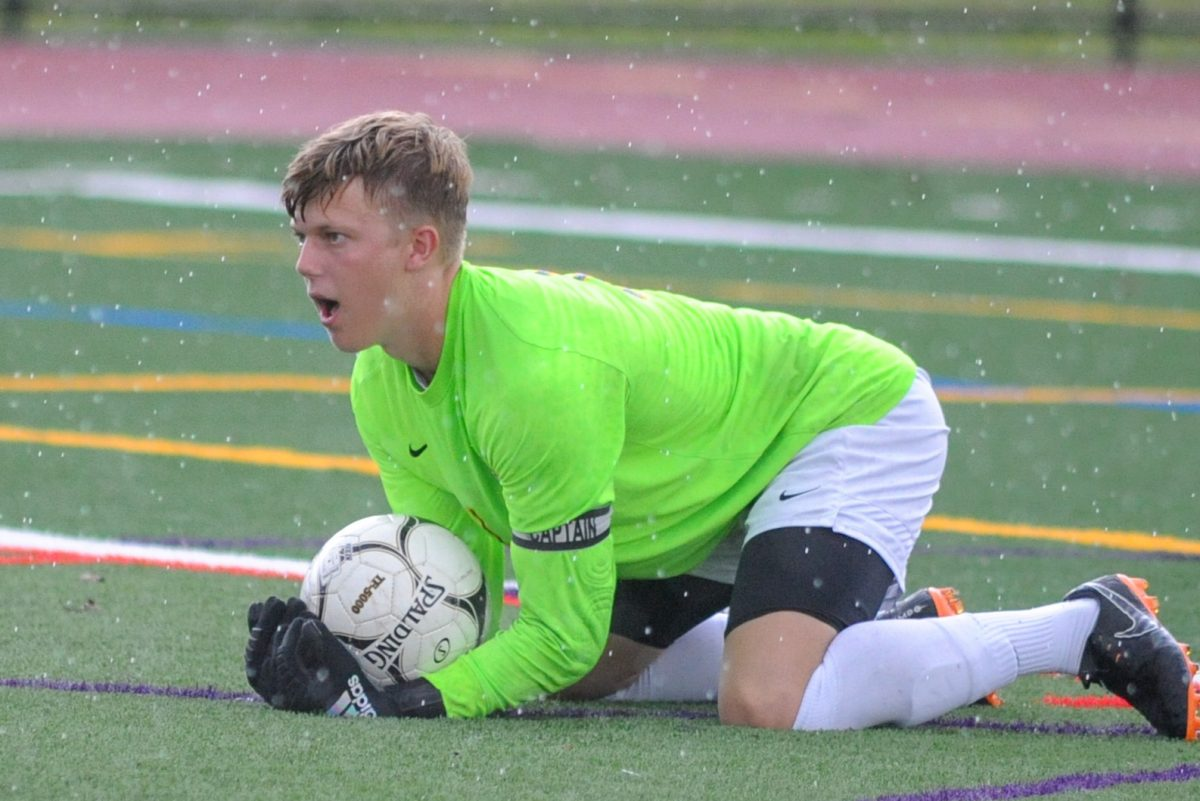 Central Bucks West goalkeeper Dylan Smith makes a save in a game against Pennridge.
