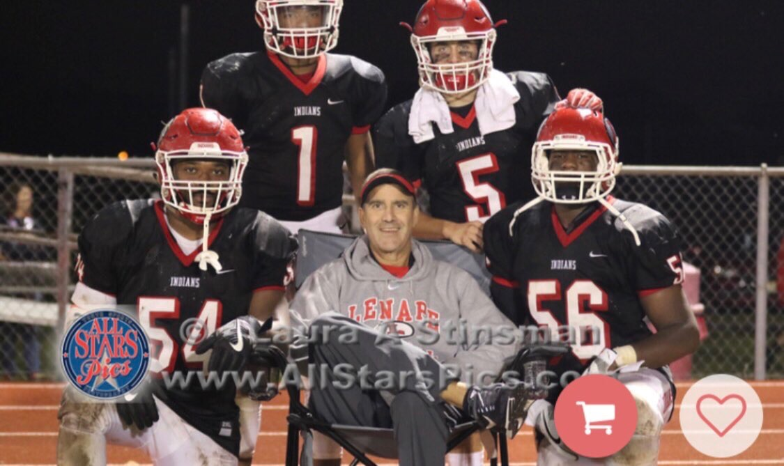 Mark Lilley, then a Lenape assistant football coach, with some of his players in 2017.