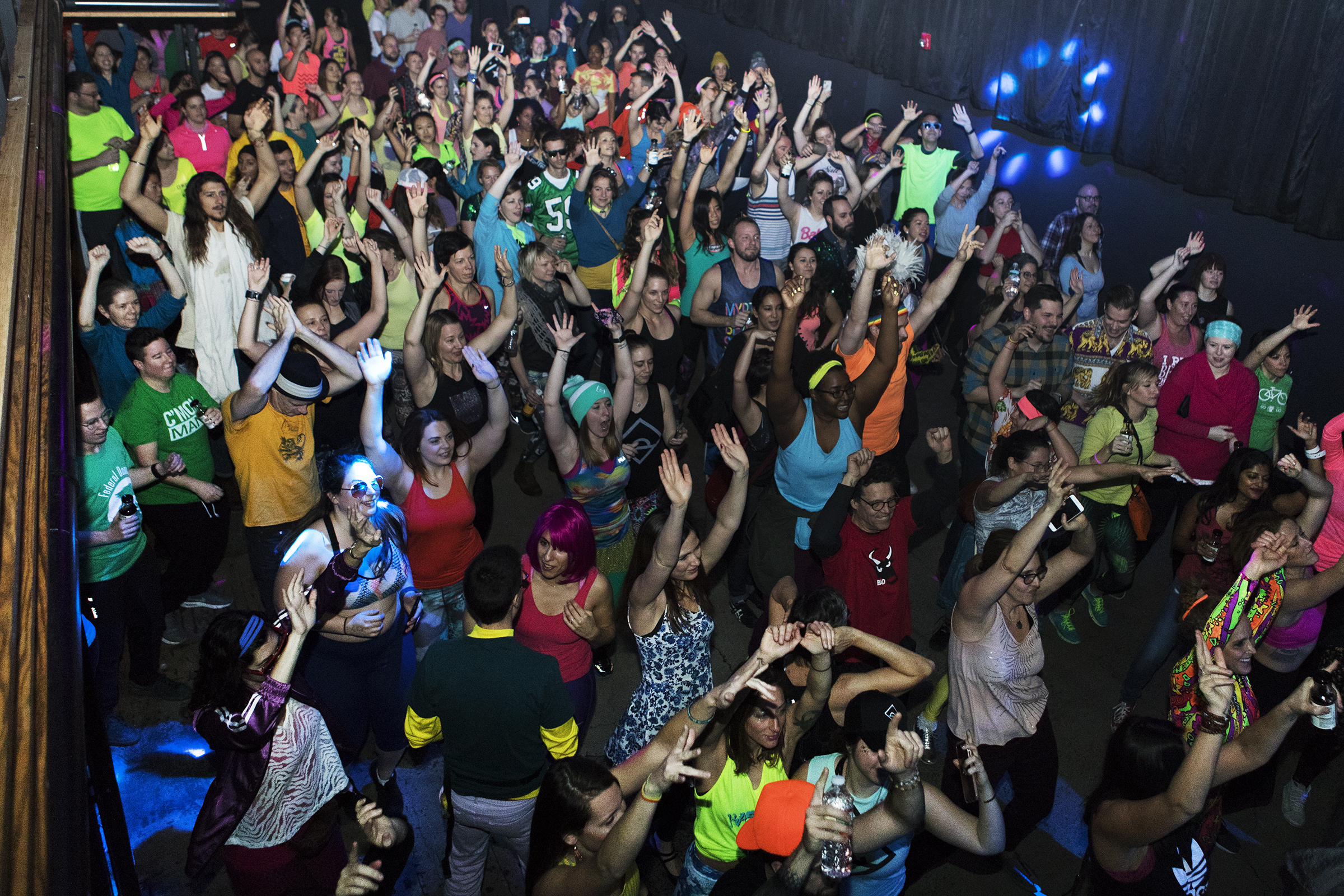 An aerial view of the Daybreaker / PHL dance party held at Coda 1712 Walnut St. in center city Philadelphia on Wednesday morning January 31, 2018. The dance party took place after a 6 a.m. yoga session.