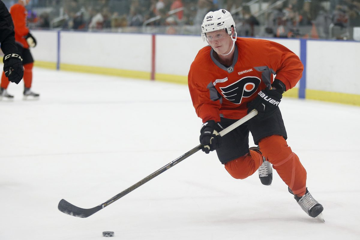 Flyers prospect Wade Allison skates toward the net during development camp in Voorhees.