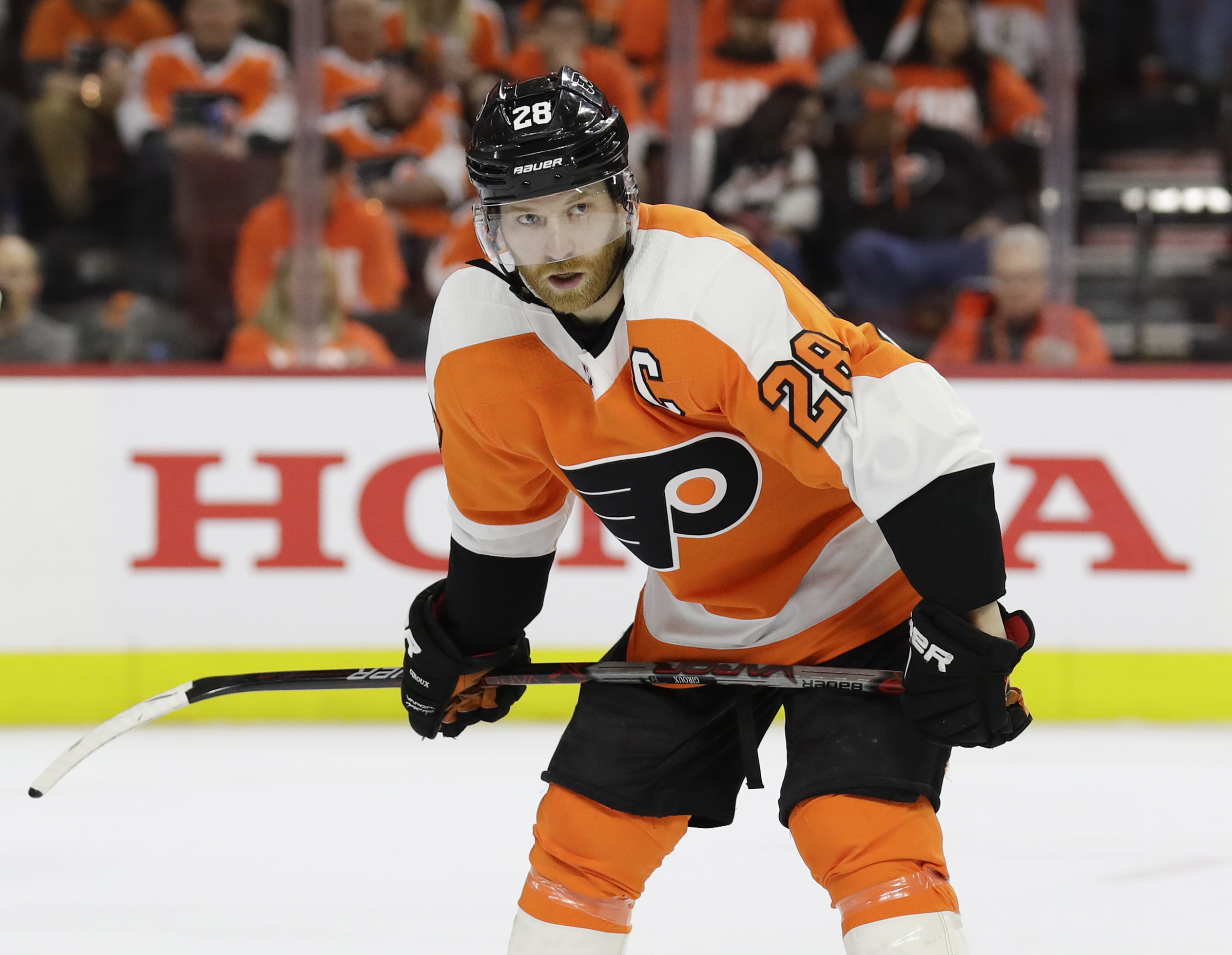 Claude Giroux set career highs in goals (34) and points (102) last season.