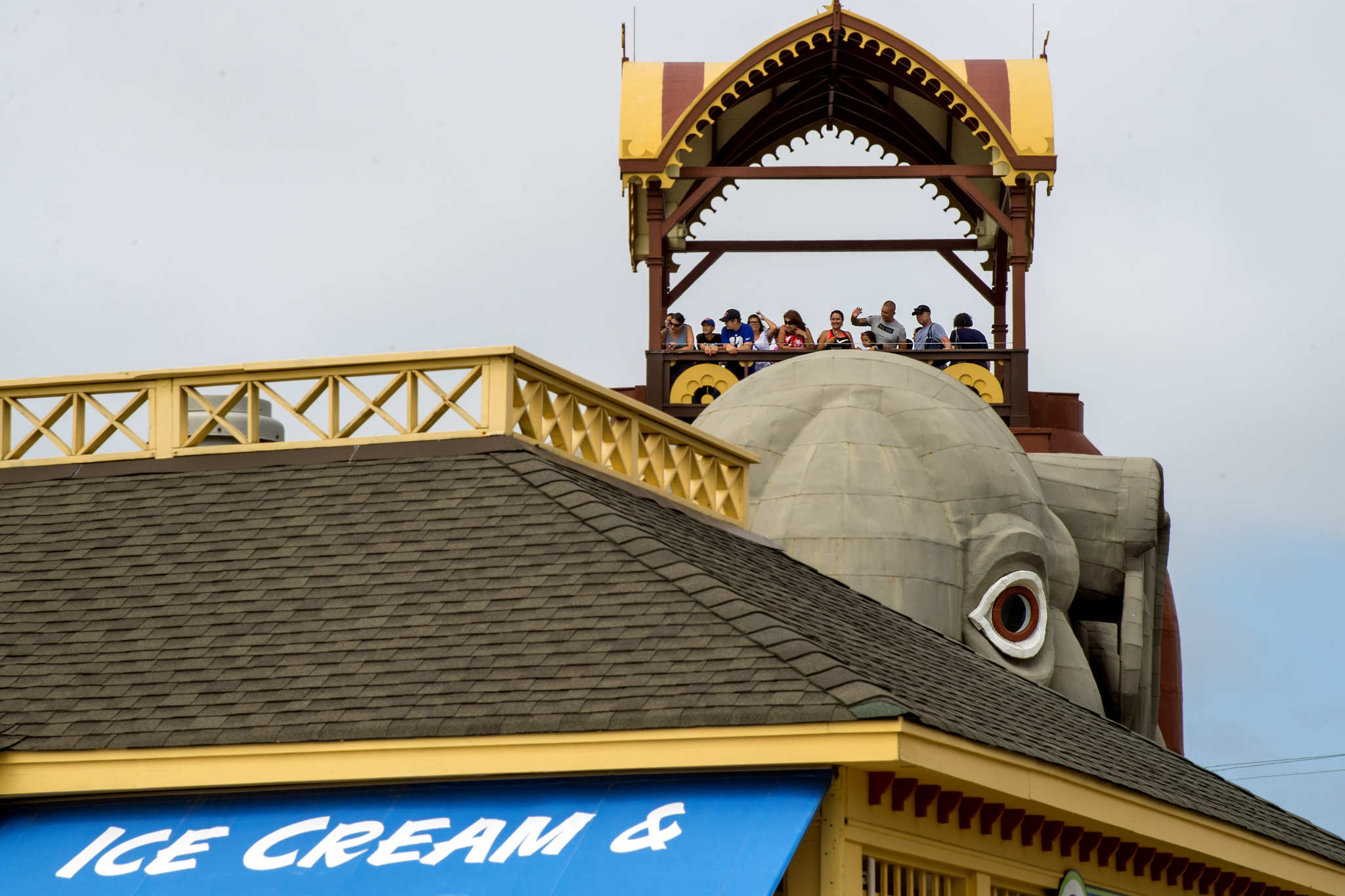 Jersey Shore visitors look out toward the Atlantic Ocean, the view from atop Lucy the Elephant in Margate September 2, 2018.