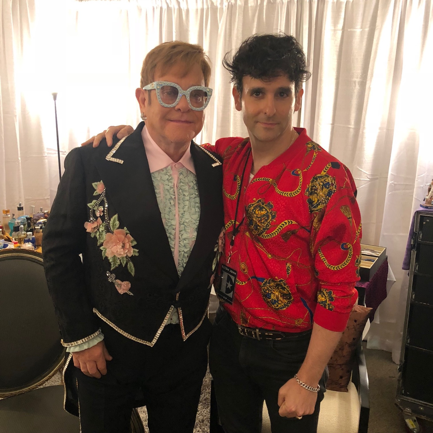 Elton John and Adam Weiner of Philadelphia band Low Cut Connie backstage at the Wells Fargo Center on Wednesday.