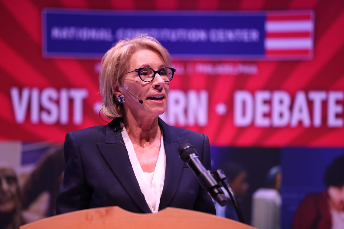 U.S. Secretary of Education Betsy DeVos gives a speech at the National Constitution Center on Sept. 17.