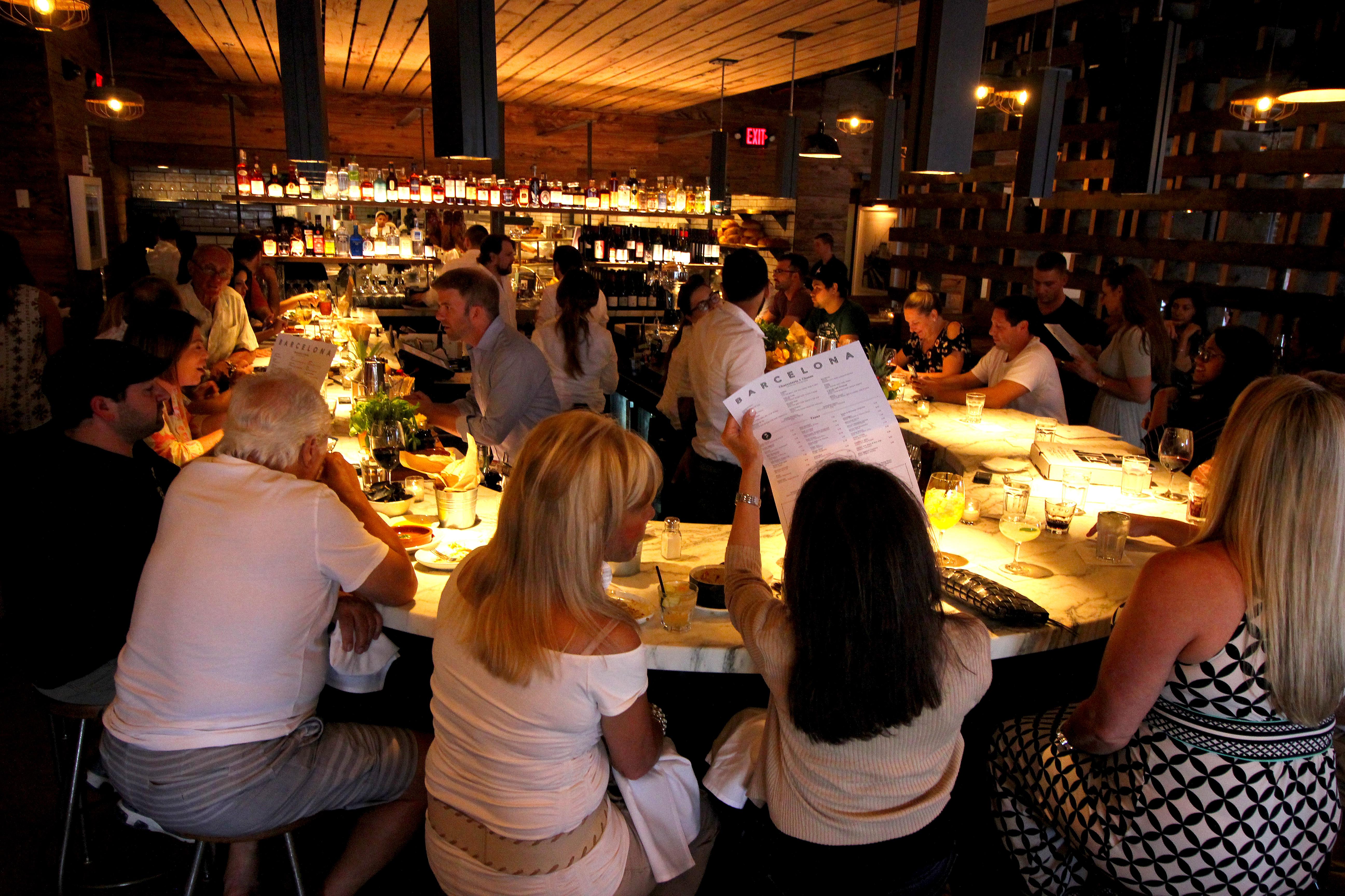 Bar dominates the dining room at Barcelona, 1709 E. Passyunk Ave.