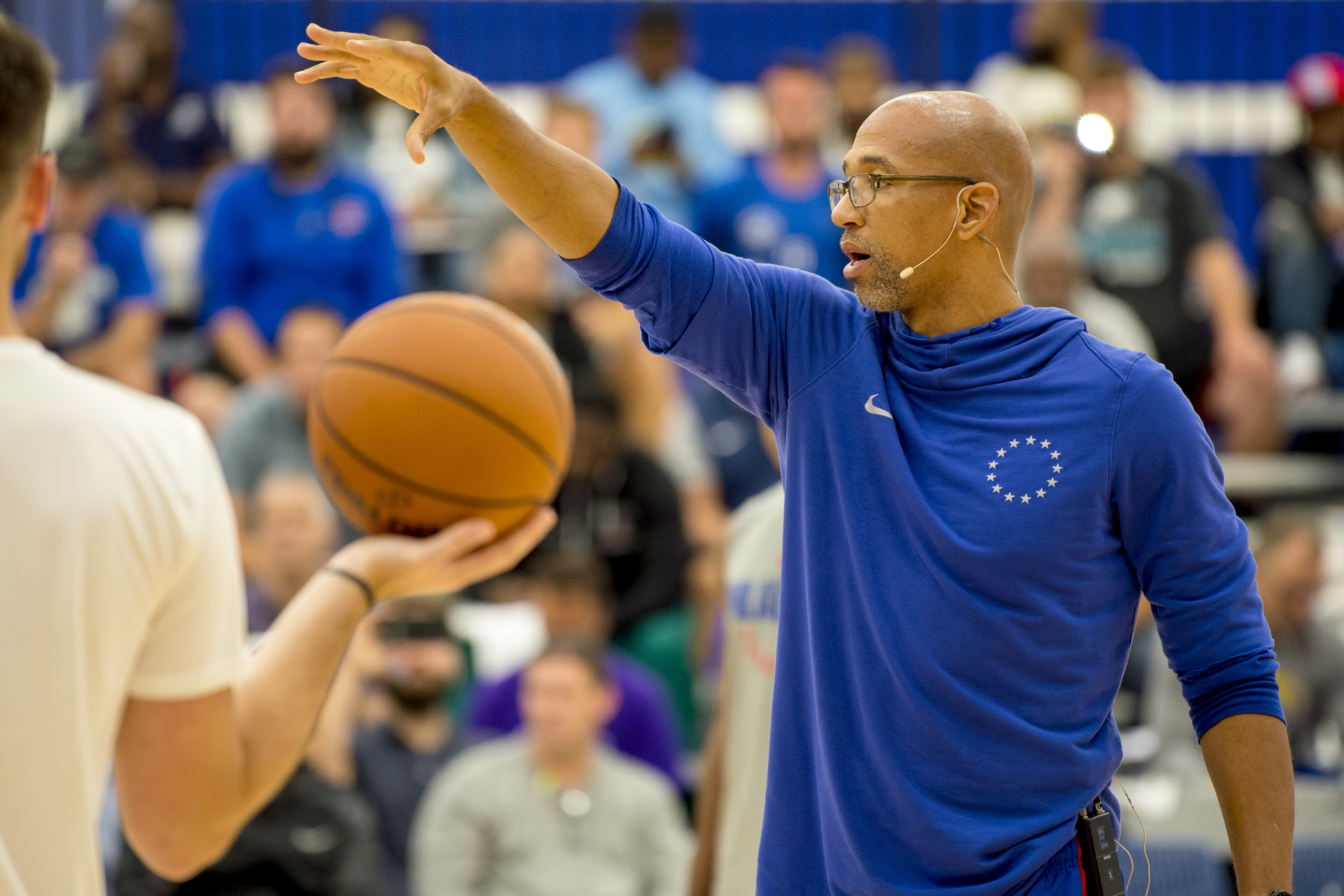 Philadelphia 76ers assistants coach Monty Williams leads a clinic during the fourth annual coachesÕ clinic hosted by Head Coach Brett Brown at the team�s Training Complex in Camden September 17, 2018.