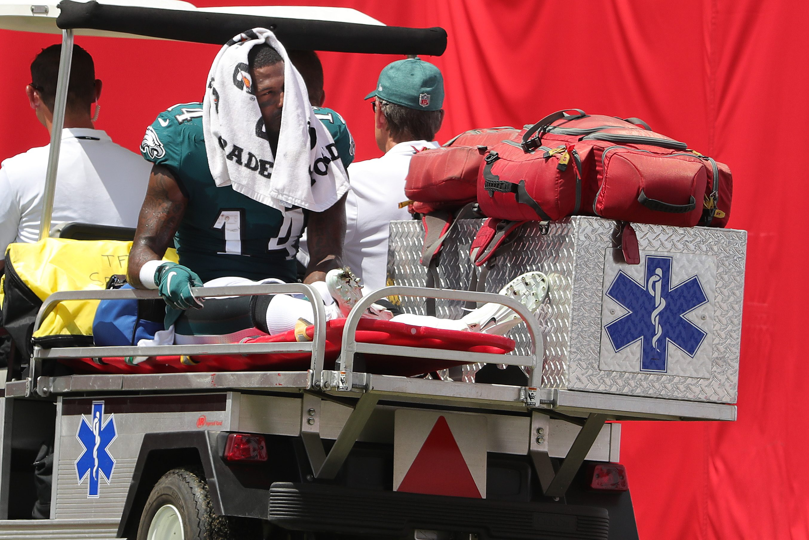 Mike Wallace leaves on a cart after injuring what appears to be a serious ankle injury.
