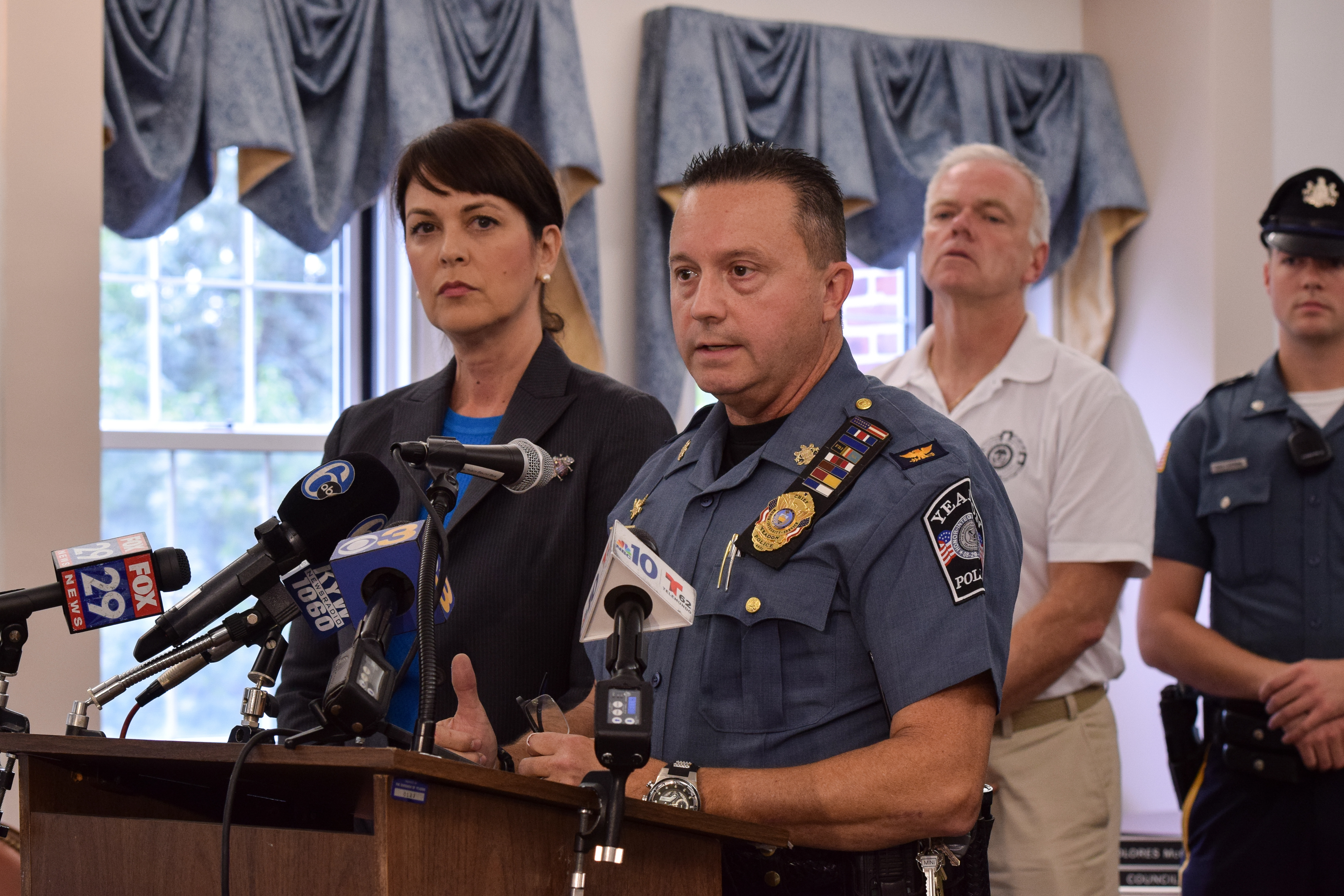 Yeardon Police Chief Anthony Paparo (right) addresses announced criminal charges against Robert Coult III on Monday alongside Delaware County District Attorney Katayoun Copeland.