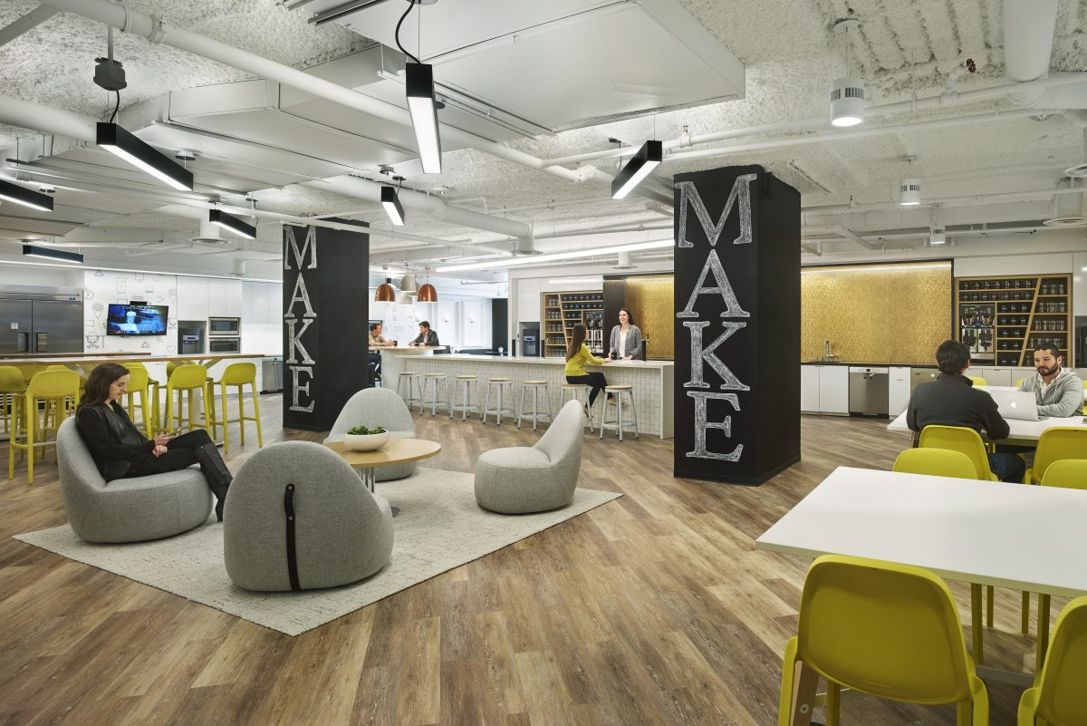 MakeOffices's K Street location in Washington, D.C. The coworking-space operator says its planned location in Philadelphia's Bourse building will share a similar design.
