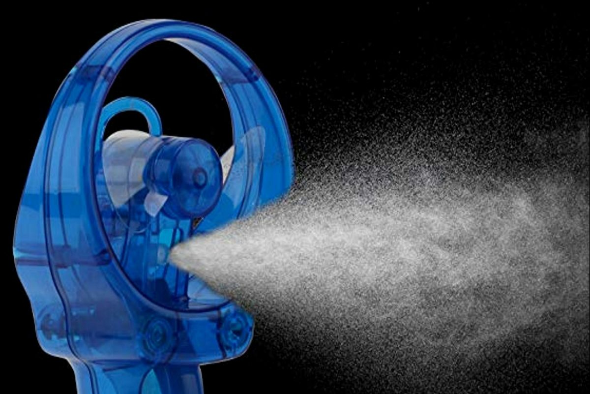 With the O2COOL Deluxe Misting Fan, you get a spritz of mist when you squeeze the pump trigger.