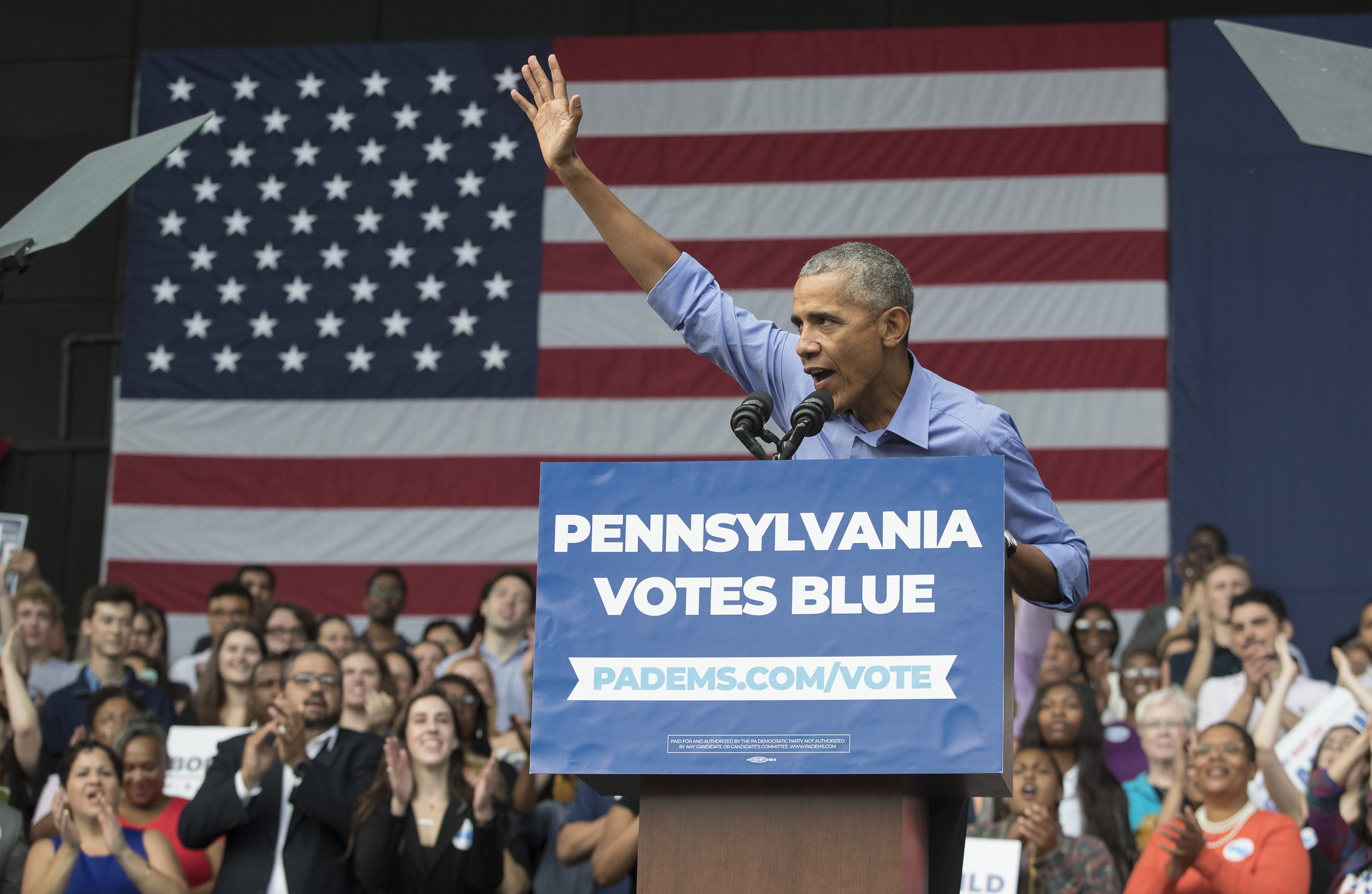 President Barack Obama attended a rally For Senator Bob Casey, Governor Tom Wolf, and Pennsylvania Democrats at The Dell on Sept. 21, 2018.