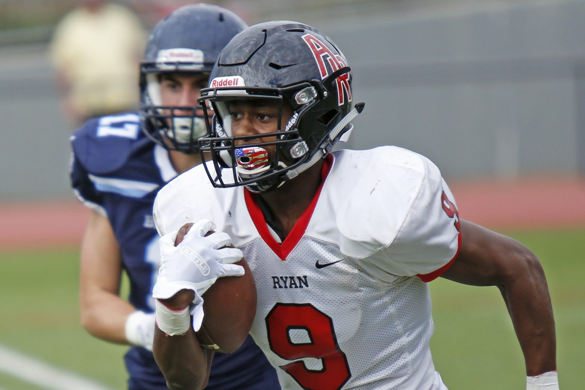 Archbishop Ryan's Tyreek Chappell notches the first of his four rushing touchdowns in a 45-20 nonleague victory over Springside Chestnut Hill.