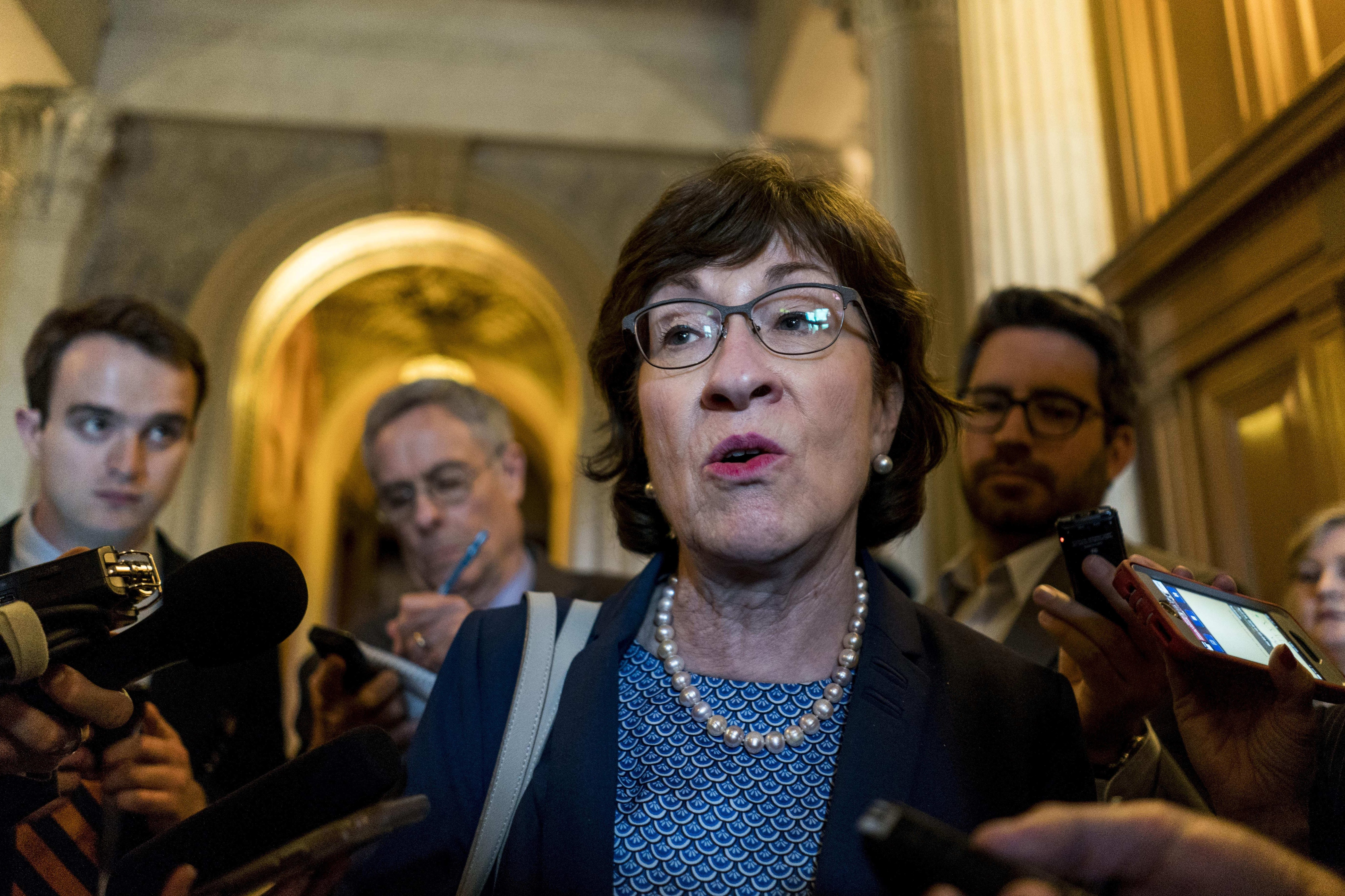 Sen. Susan Collins of Maine, above on Capitol Hill in April, and Alaska Sen. Lisa Murkowski will be the target of intense lobbying as President Trump is expected to put forward a pick who would shift the Supreme Court in a more conservative direction.