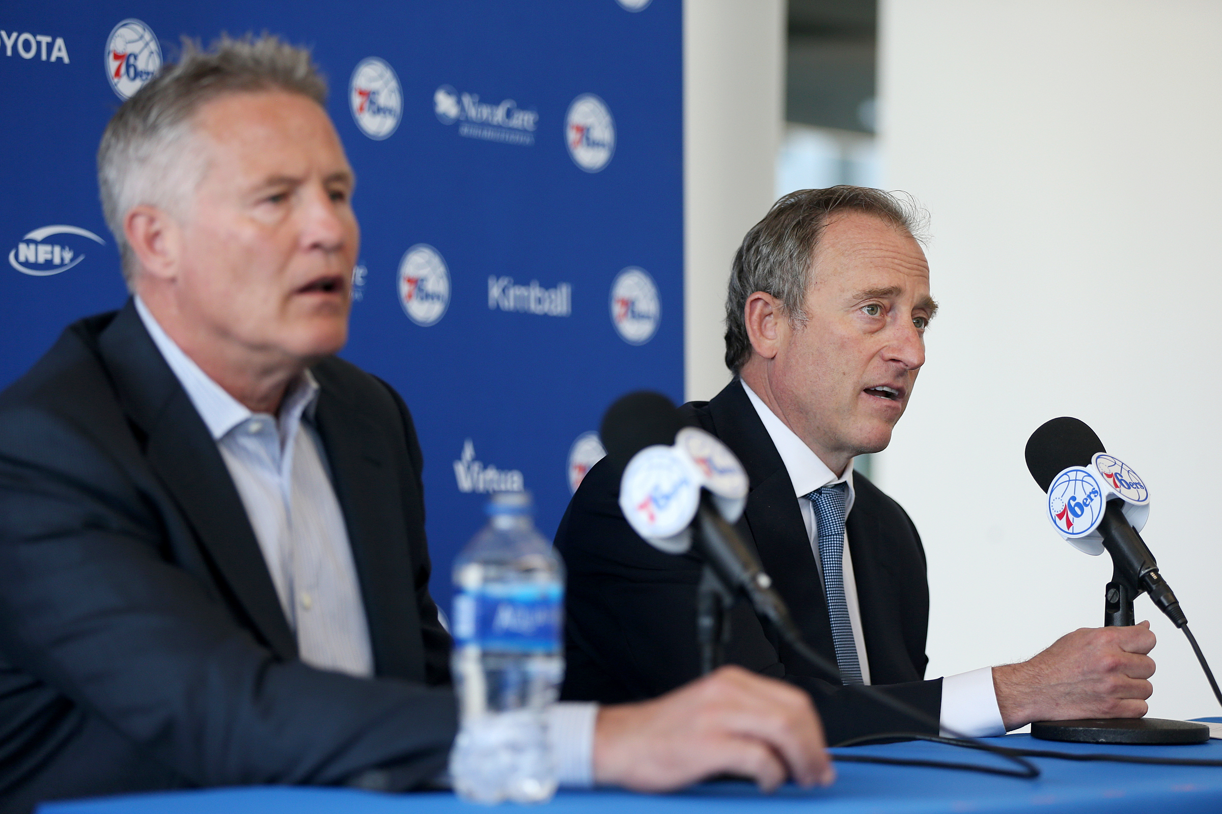 Sixers head coach Brett Brown, left, has been the team�s primary spokesman for most of Josh Harris� ownership.