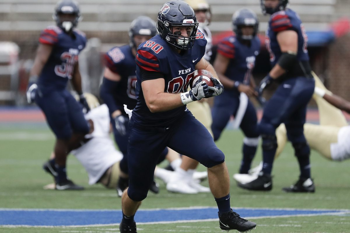 Penn tight end Logan Sharp runs with the football in the second quarter against Lehigh on Saturday.