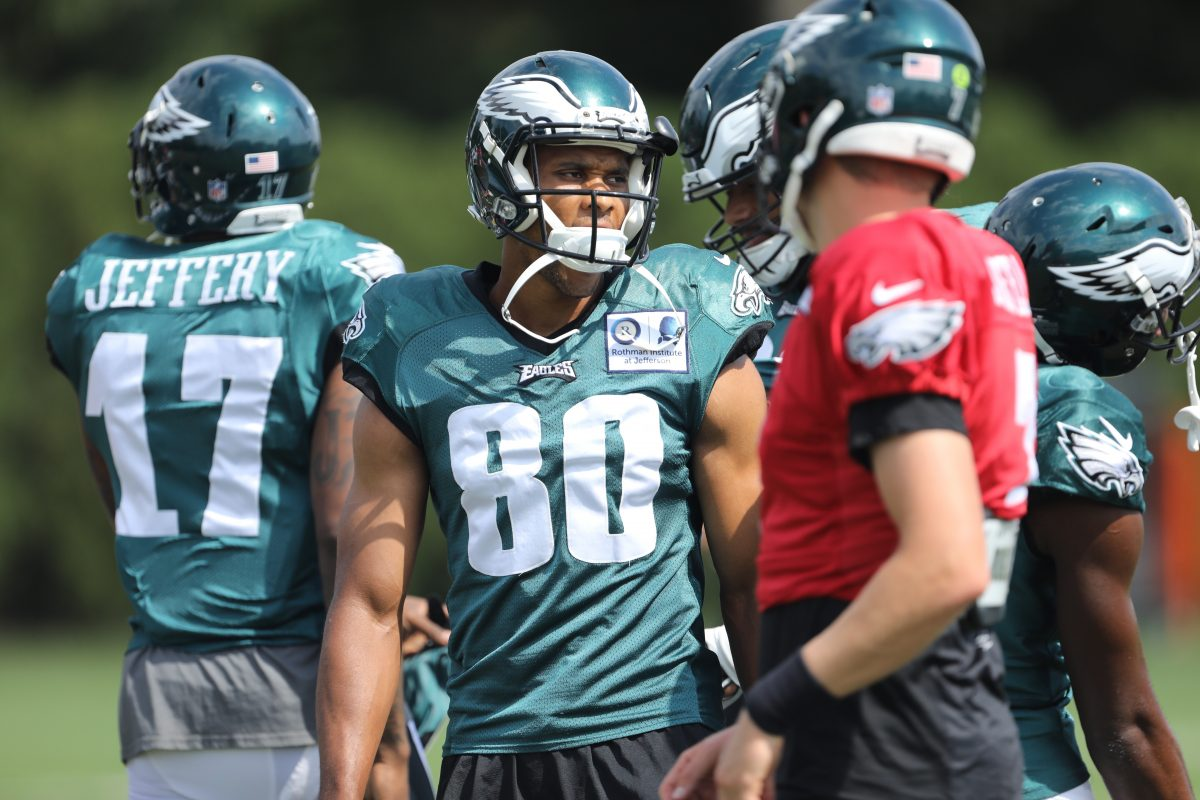 Newly signed wide receiver Jordan Matthews at the start of practice at the NovaCare Complex on Wednesday.