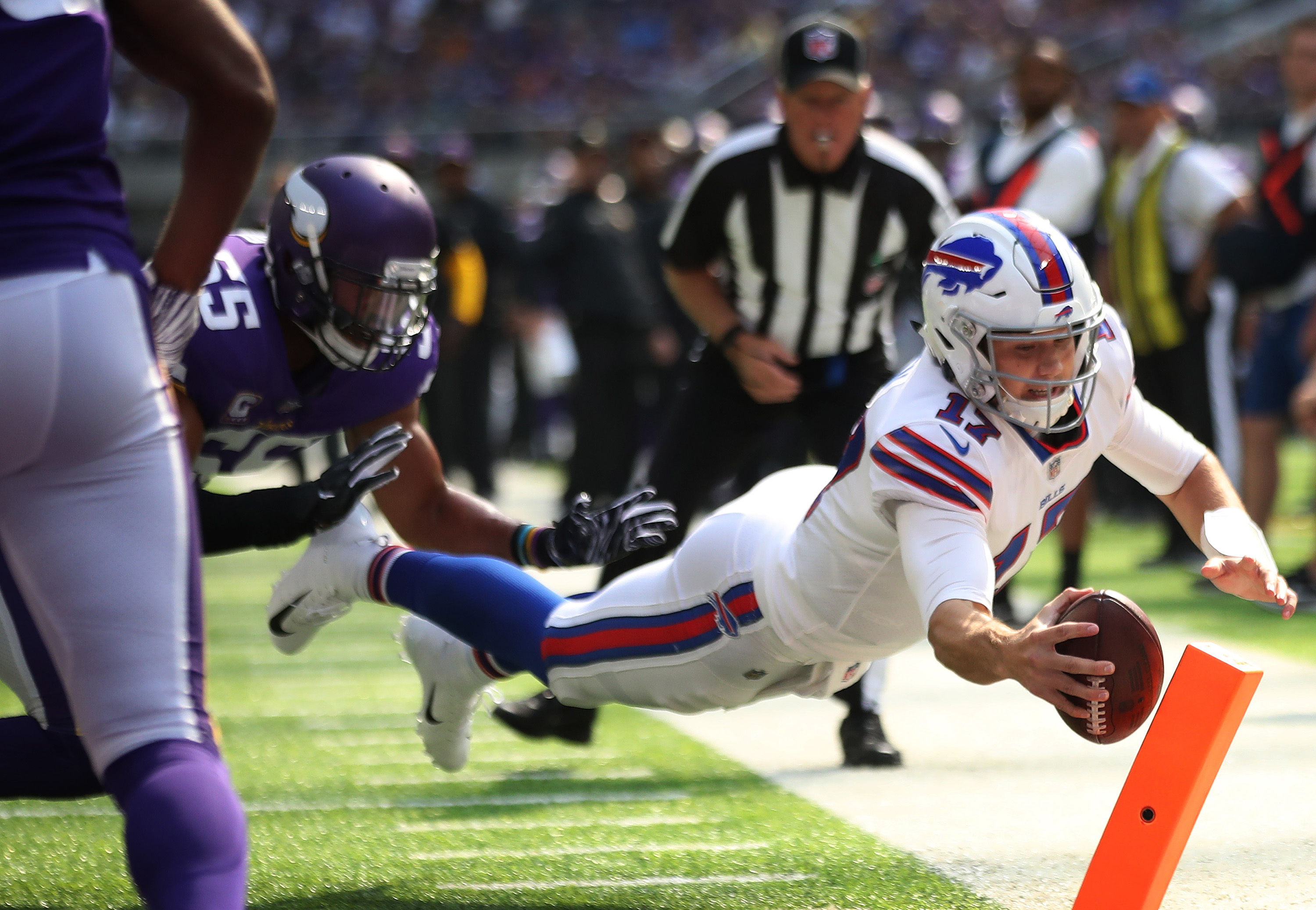 Buffalo rookie quarterback Josh Allen ran for two touchdowns and passed for another as the Bills won at Minnesota in the biggest upset of the young season.